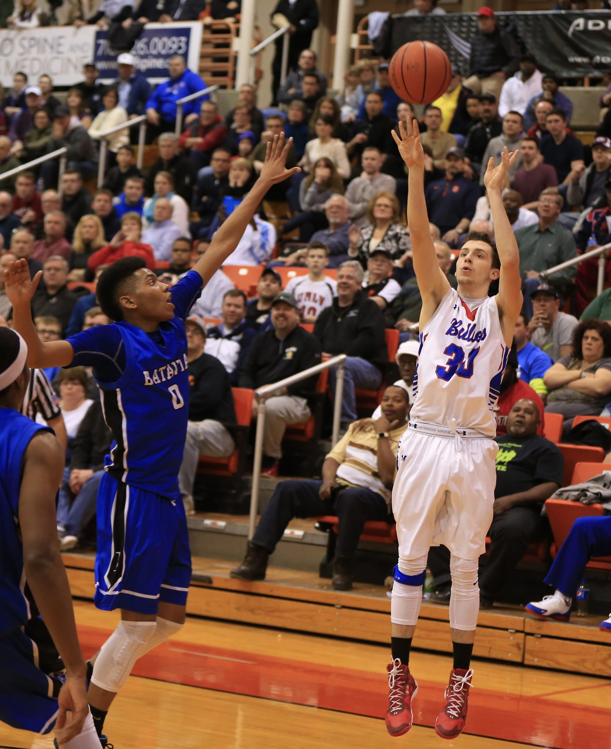 Williamsville South's Jordan Buell releases the shot that gave the Billies a 53-51 victory over Batavia on Saturday night.