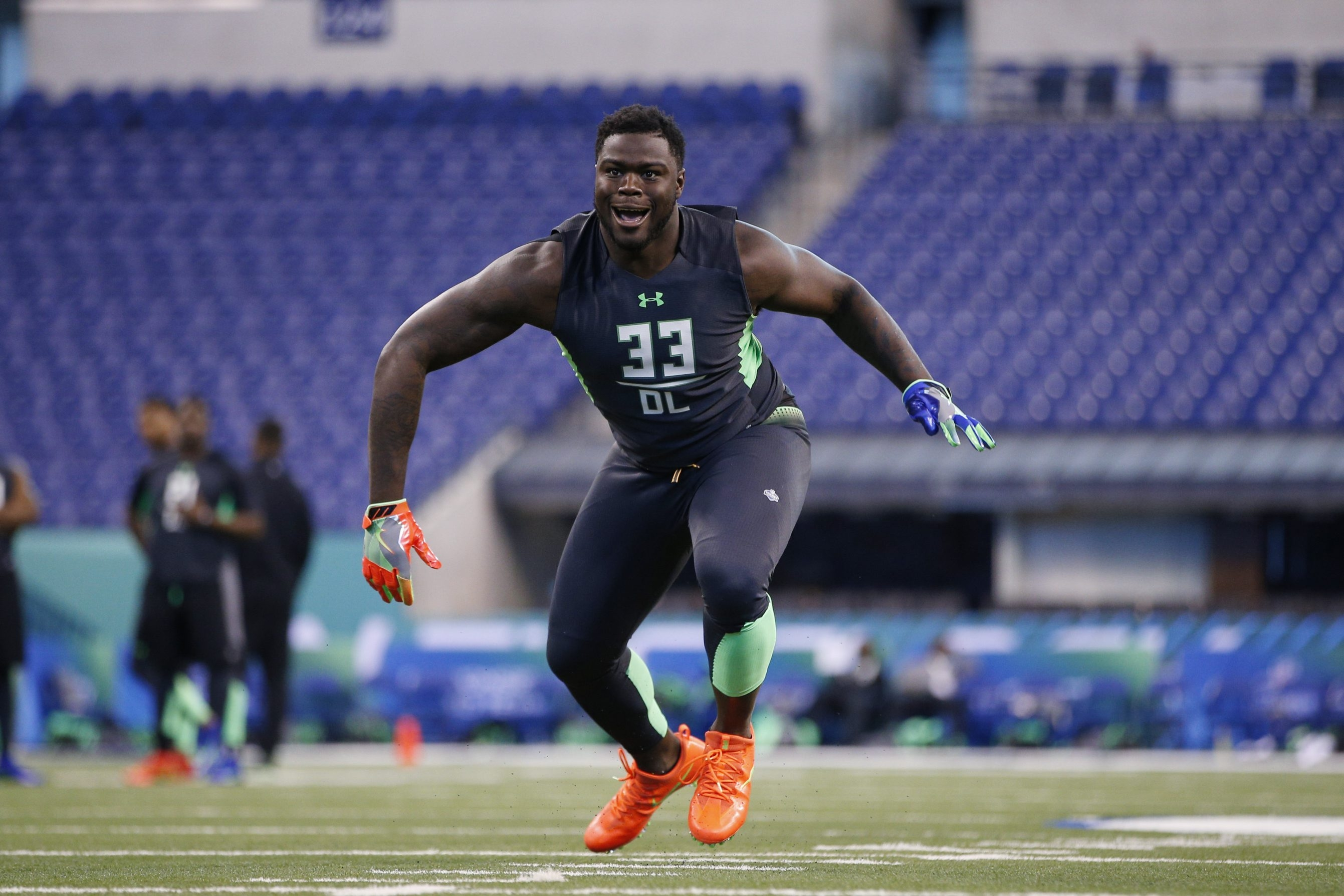 Defensive lineman Shaq Lawson of Clemson hopes to turn a strong impression at the 2016 NFL Scouting Combine into an improved draft position.