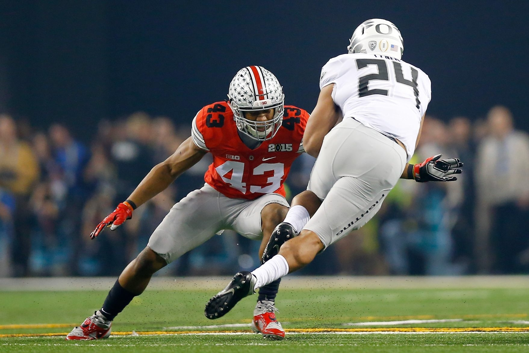 Darron Lee (43) of Ohio State has shown he has a knack for disrupting offenses, whether he's making tackles for losses or providing coverage on tight ends or running backs.