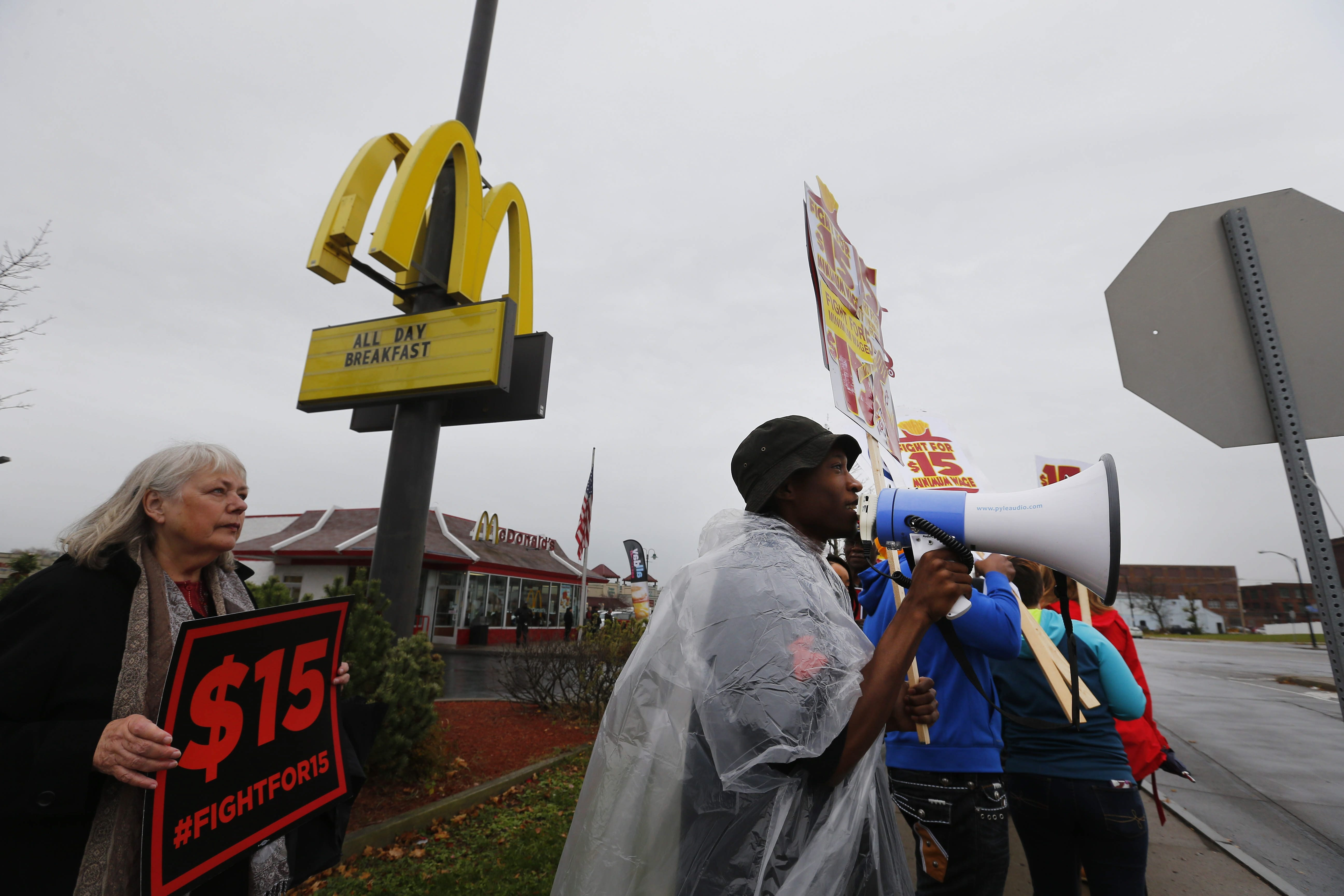 A file photo shows advocates for a higher minimum wage protesting outside the McDonald's on William Street in Buffalo last November.  (Mark Mulville/Buffalo News)
