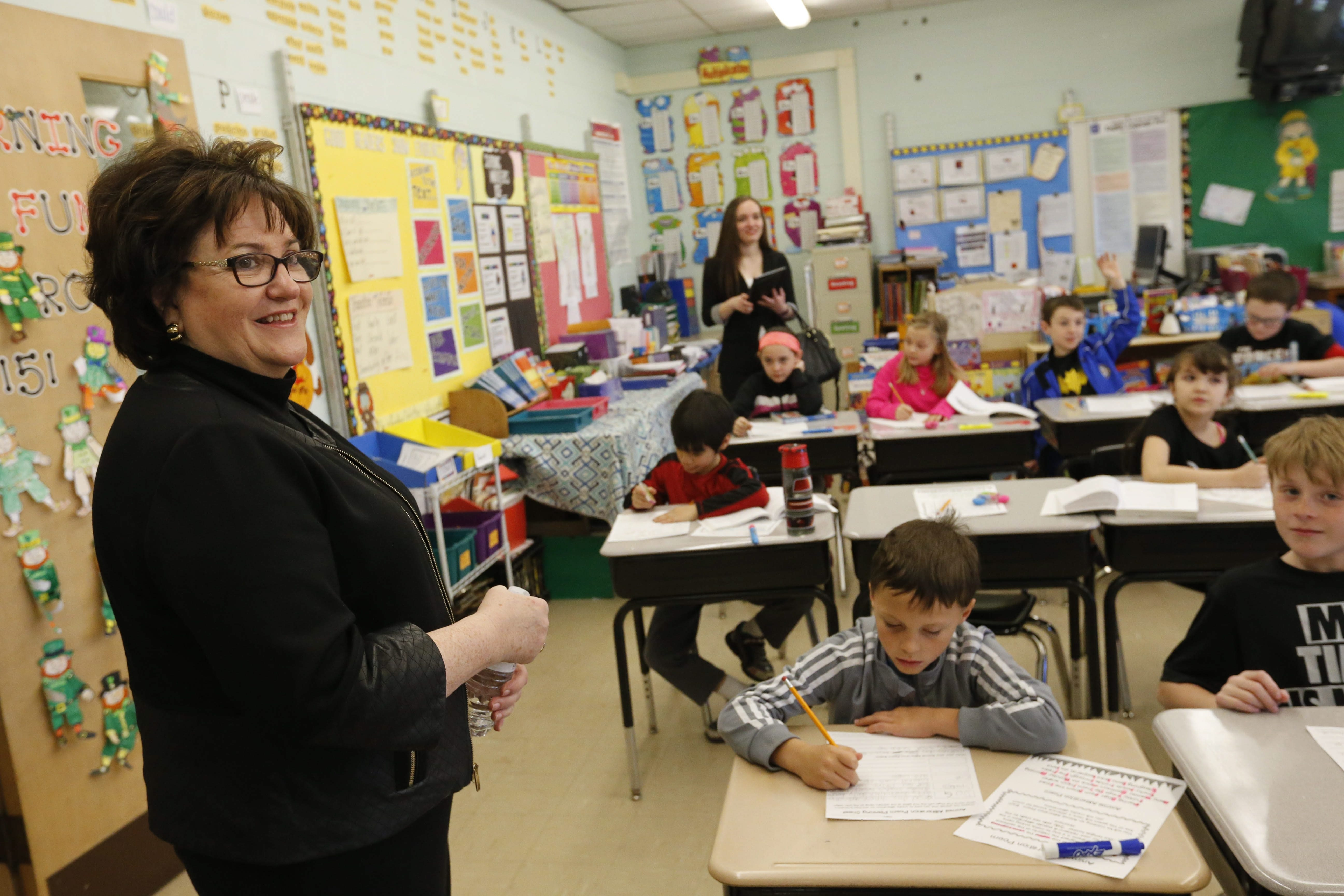 Before state tests next week, Education Commissioner MaryEllen Elia visits Sue Burgio's class Wednesday at Allendale Elementary School in the West Seneca district, where parent opposition and the student opt-out rate have been high. See a photo gallery at buffalonews.com.