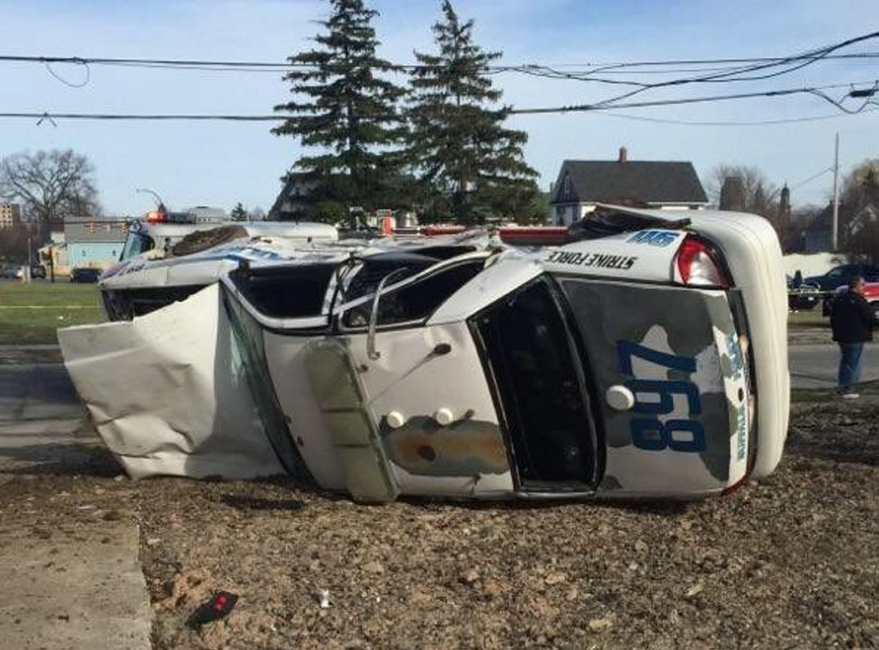 A Buffalo Police Strike Force patrol car and another vehicle collided about 5 p.m. Wednesday at Sycamore and Fox streets.