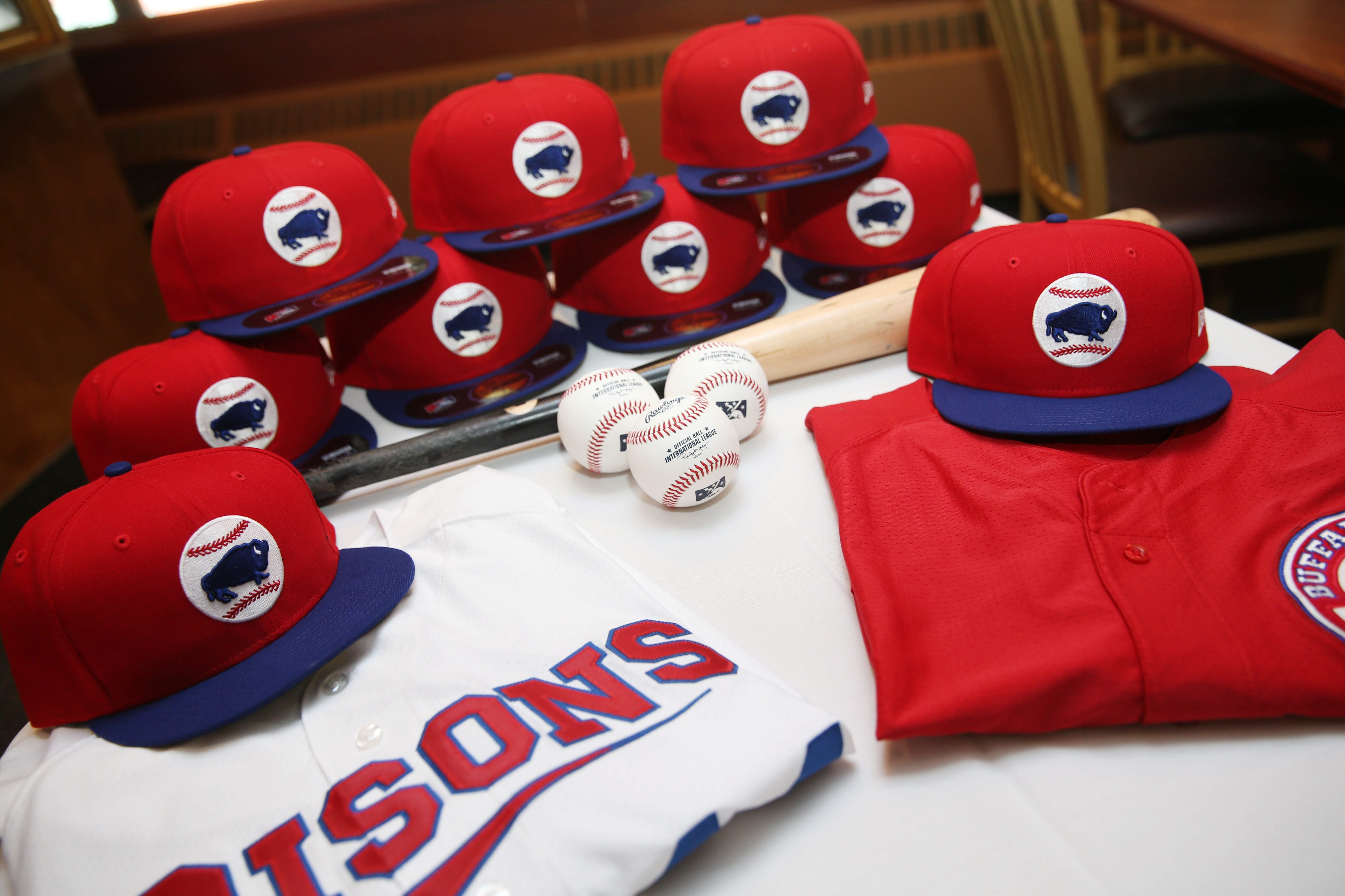 """Bisons fans will notice a new team alternate cap, unveiled at Wednesday's """"What's New"""" event, to be worn by players at various times this season. To see more of what's new, view a photo gallery at BuffaloNews.com."""