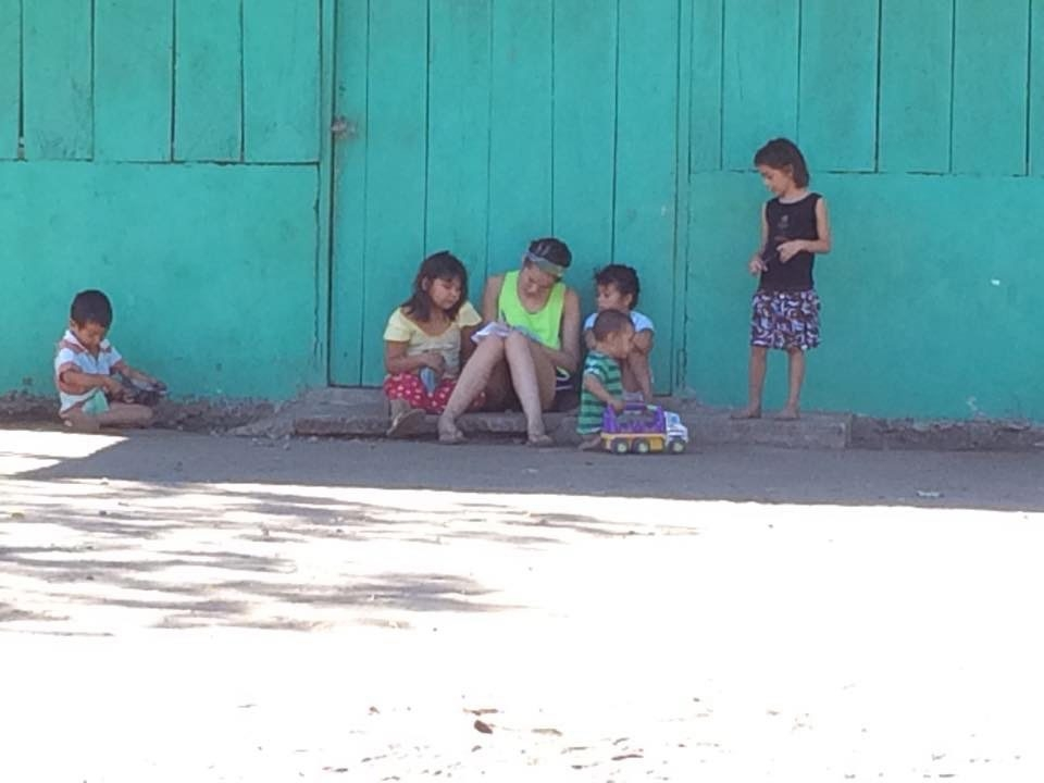 Sarah Cilano works with children in El Salvador.