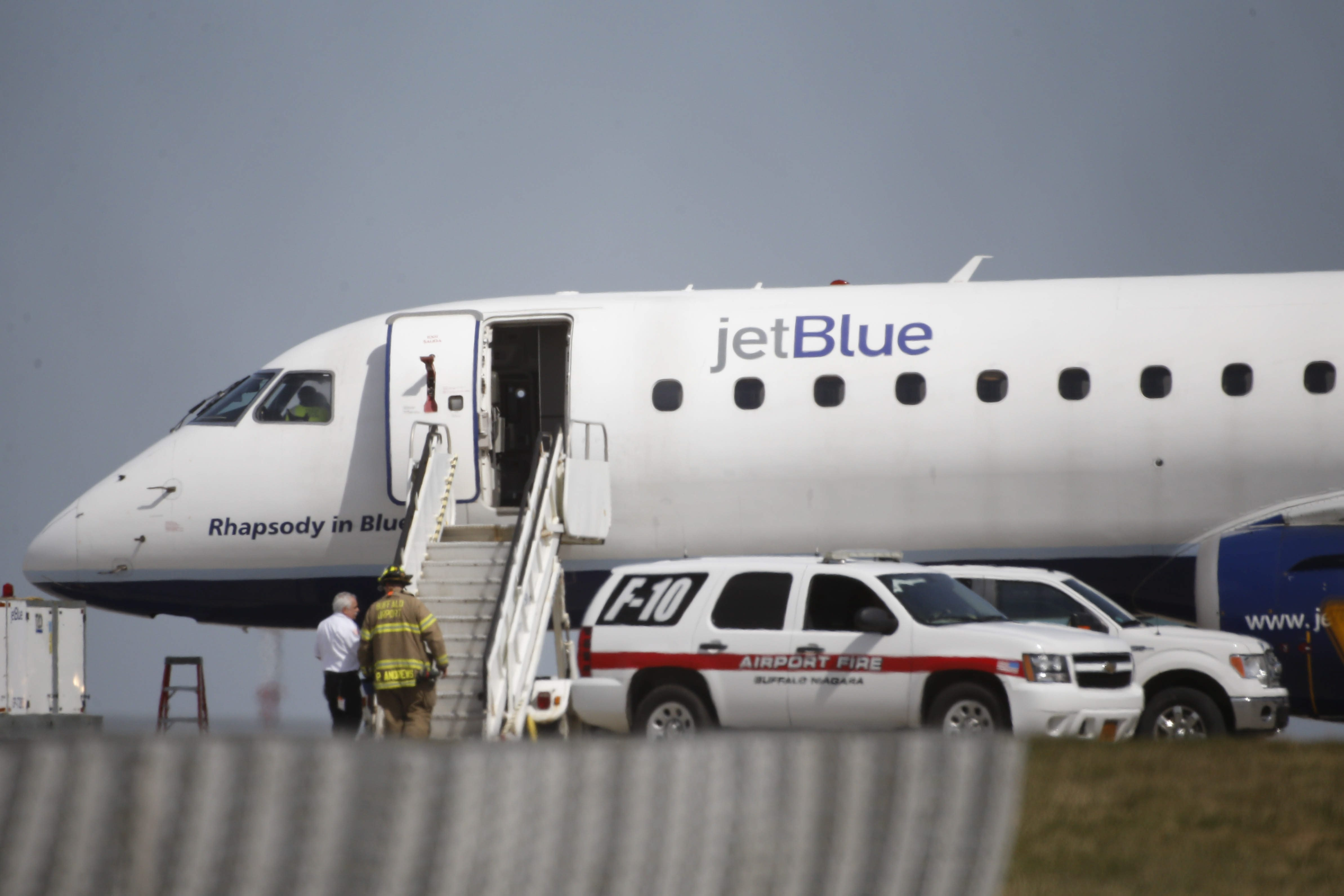 A JetBlue aircraft was diverted to land at Buffalo Niagara International Airport following an odor of smoke in the cockpit on Wednesday, March 30, 2016. (Derek Gee/Buffalo News)