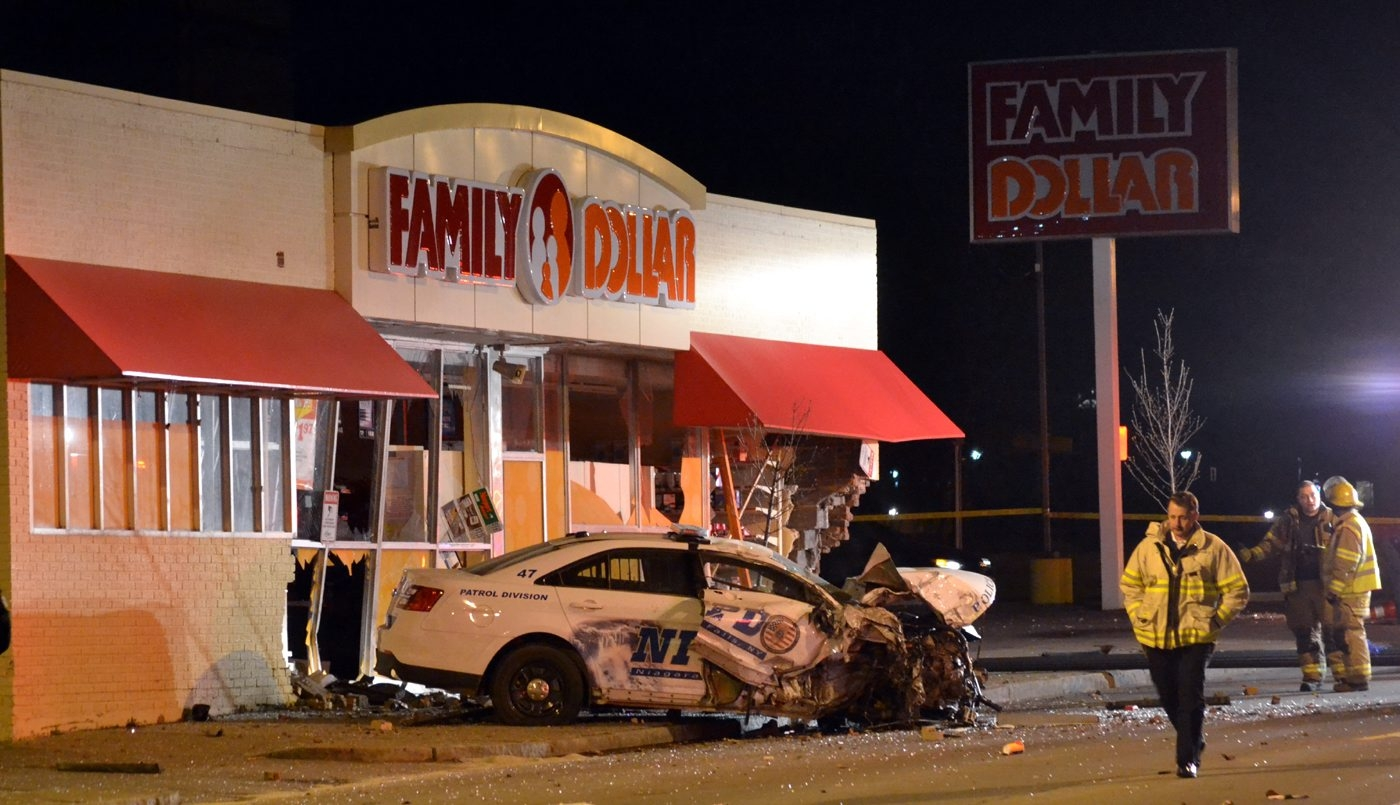 The scene in Niagara Falls where a police officer crashed into a Family Dollar store while responding to a call Tuesday night.
