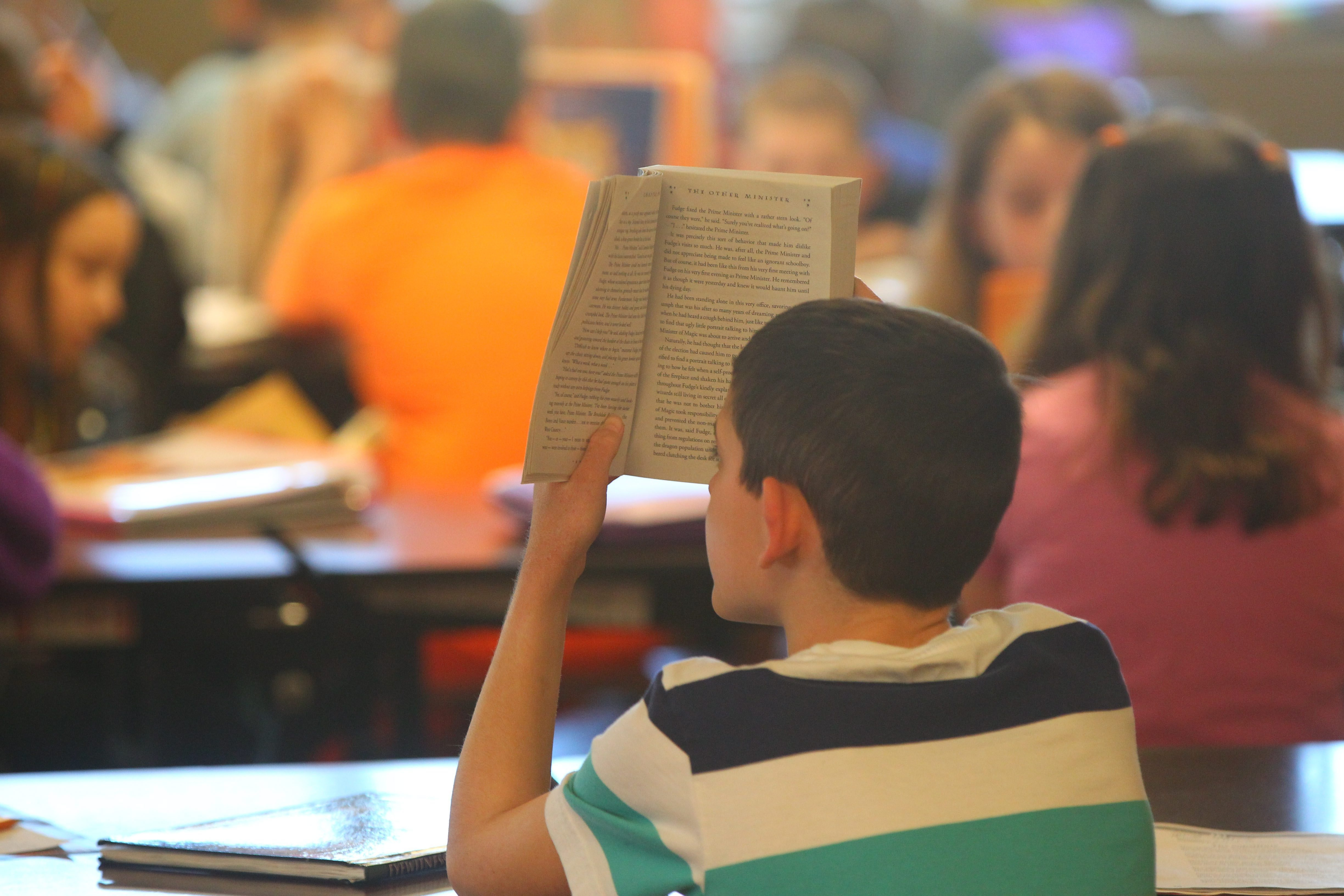 The scene at a West Seneca elementary school last year where children whose parents opted out of state testing read in the library during the tests. (Buffalo news file photo)
