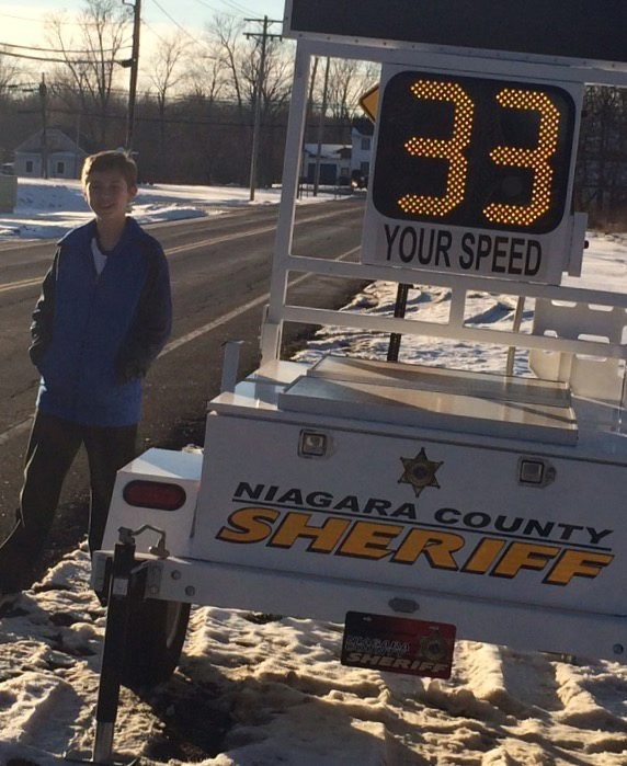 Joshua Walter, 13, did his own study and says a speed-reading meter would be effective in getting motorists to slow down on Krueger Road, where 16-year-old Ryan Fischer was killed in 2014.