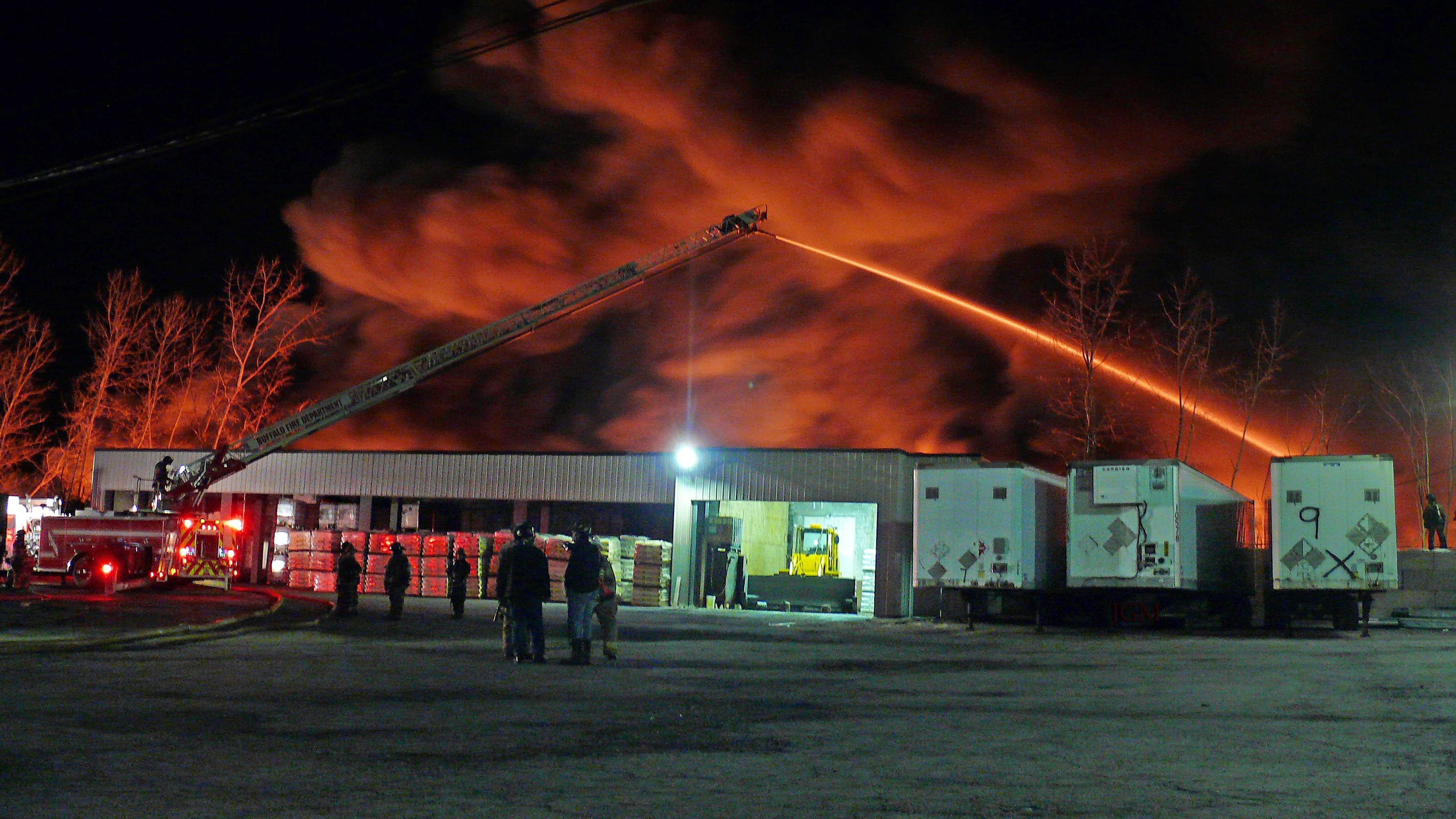 Buffalo firefighters spent more than eight hours battling a blaze at an East Side junkard. (JoAnne McNamara/Special to the News)