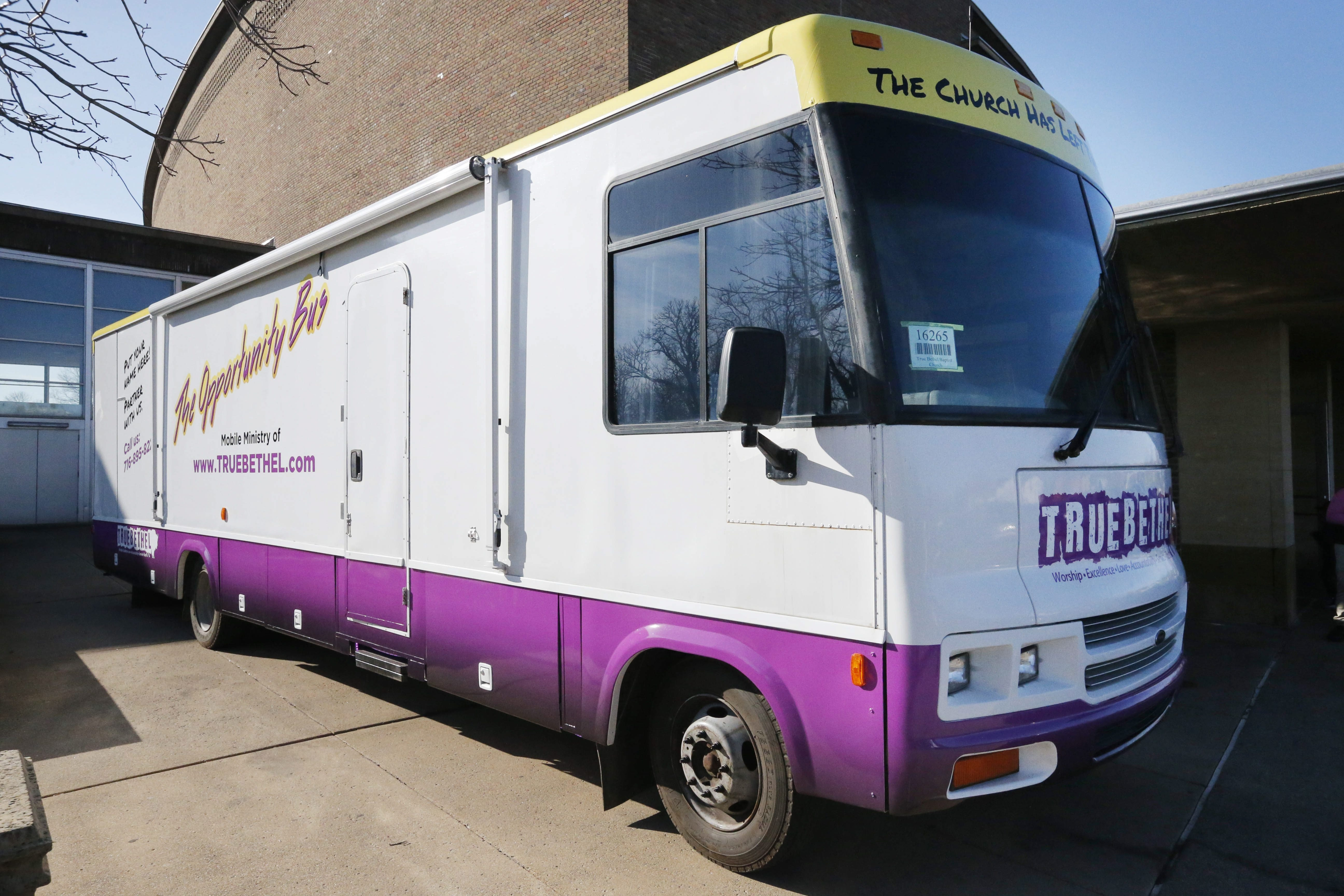 The True Bethel Baptist Church's 'Opportunity Bus' parked outside Easter Sunday service at Kleinhan's Music Hall, March 27, 2016.  (Derek Gee/Buffalo News)