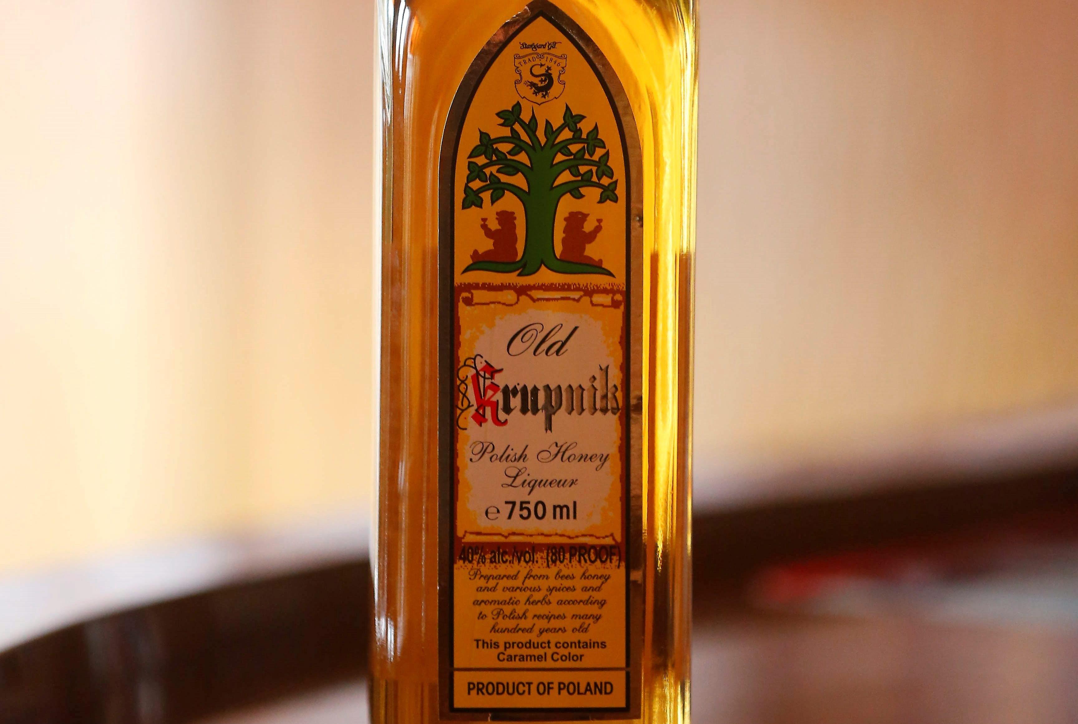 A bottle of Old Krupnik at the Happy Swallow Tavern.  (Mark Mulville/Buffalo News)