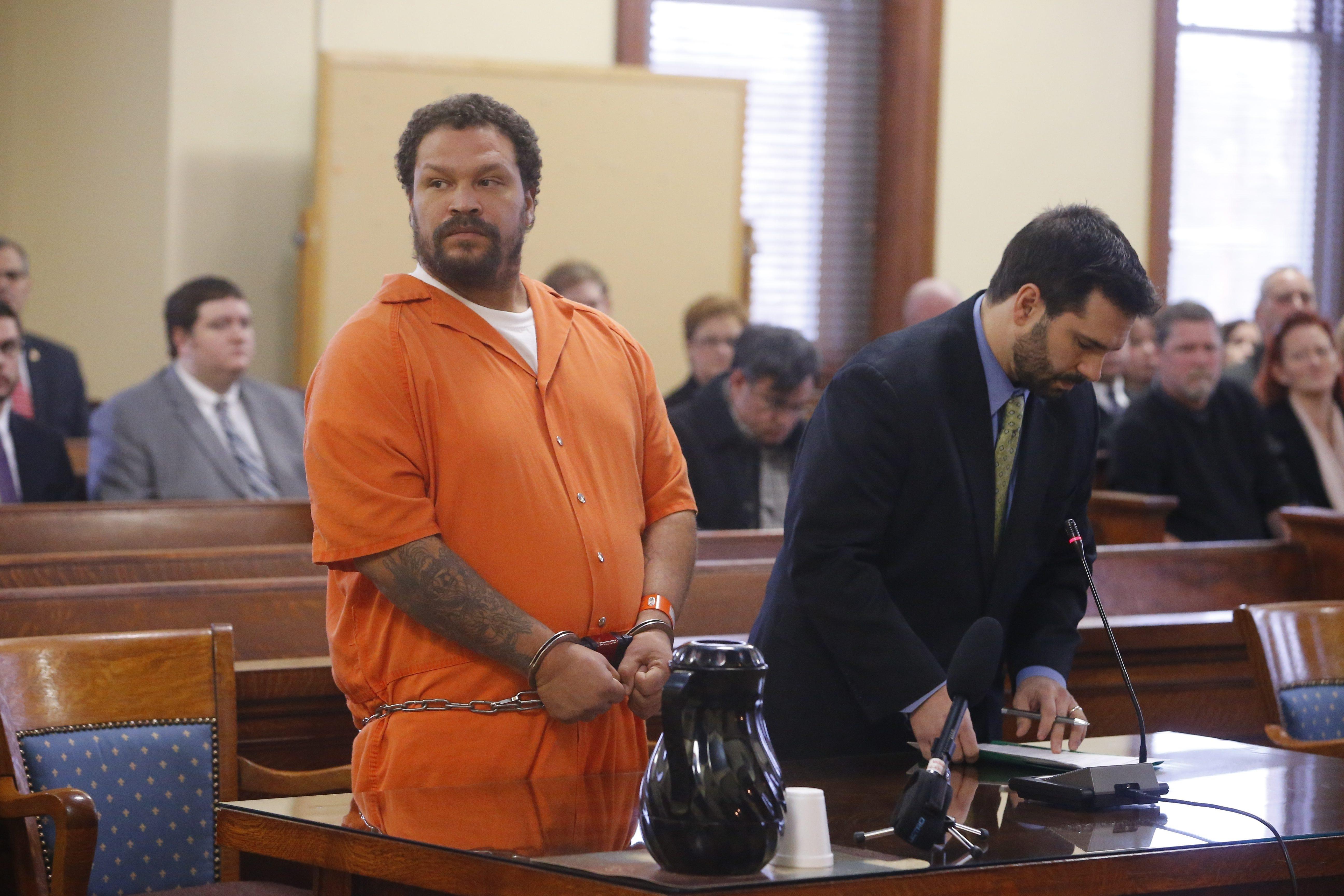 "Andre L. Jenkins, left, is serving prison sentence of life without parole in the September 2014 murders of fellow Kingsmen motorclycle club members Daniel ""DJ"" Szy- manski, center, and Paul Maue in North Tonawanda."