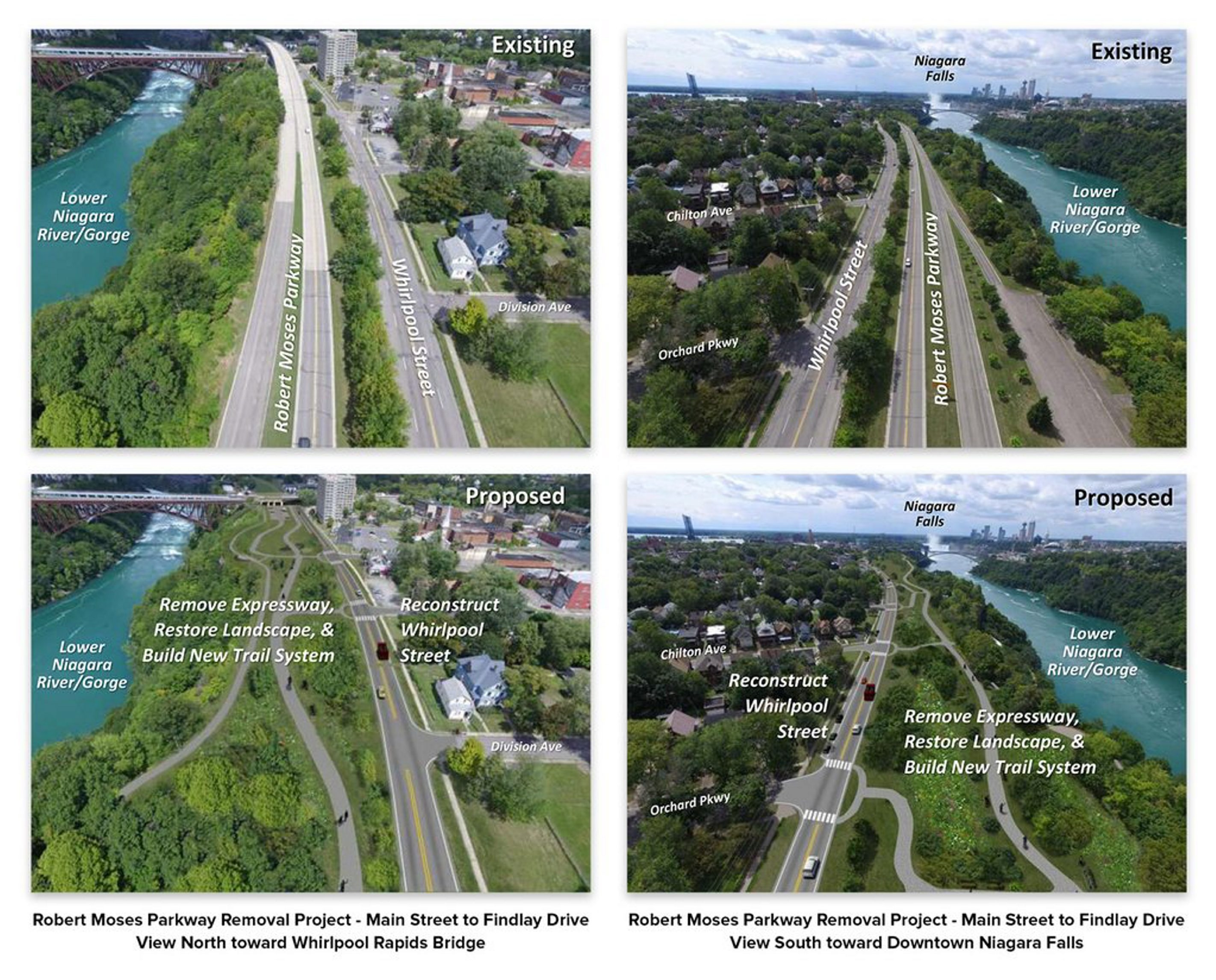 Robert Moses Parkway Removal project: Main Street to Findlay Drive, looking north toward the Whirlpool Rapids Bridge.  Robert Moses Parkway Removal project: This view of Main Street to Findlay Drive looks south toward downtown Niagara Falls.