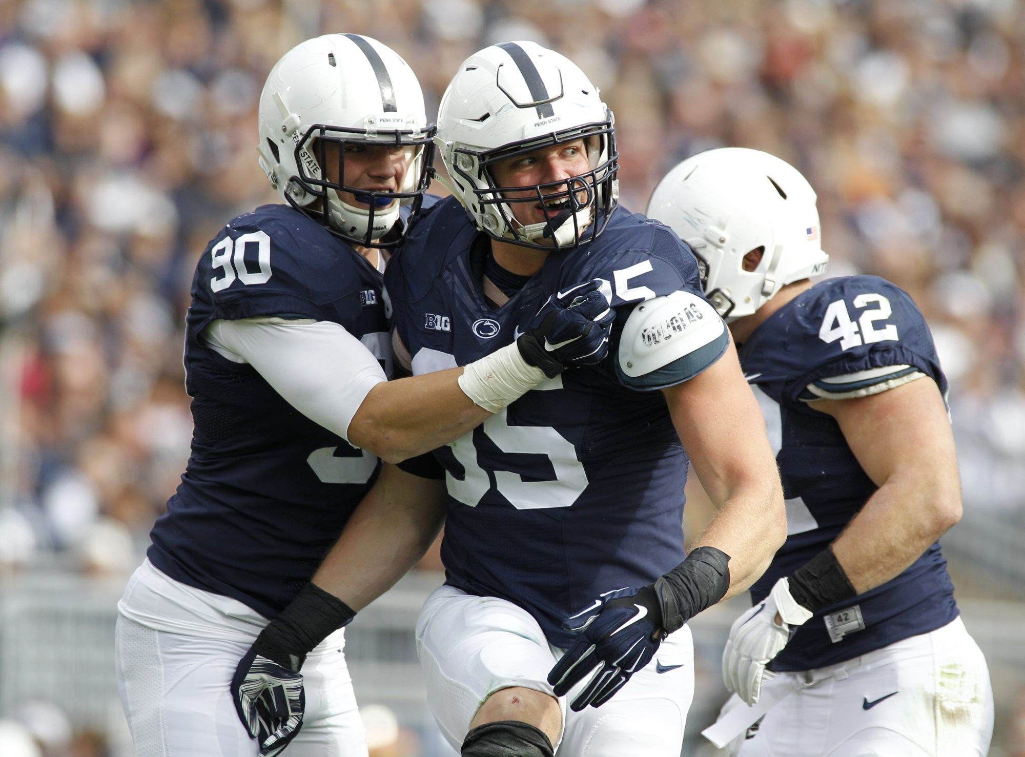 A late bloomer, defensive end Carl Nassib added 60 pounds at Penn State. He is the younger brother of Giants QB Ryan Nassib.