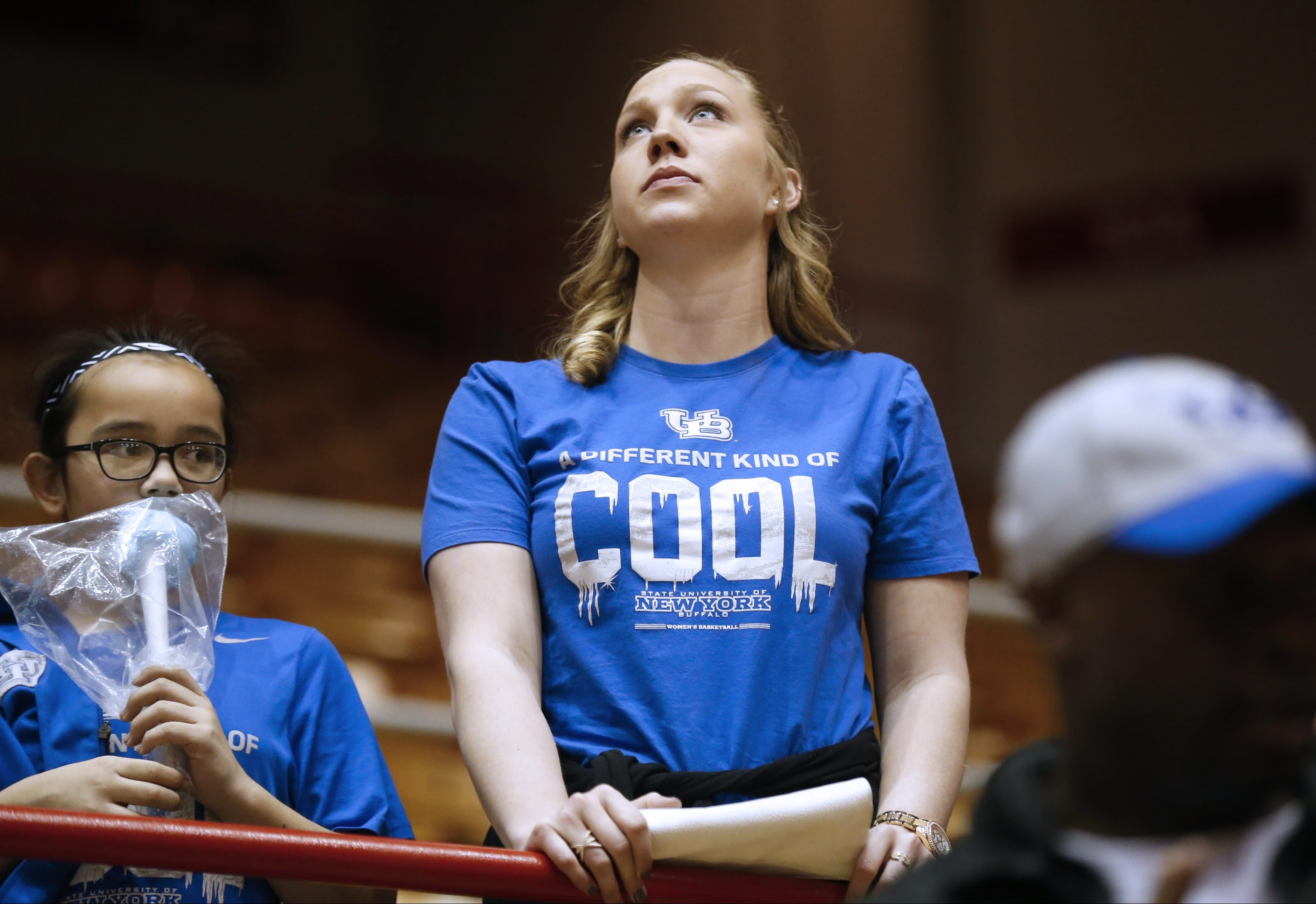 Former UB player Mackenzie Loesing doesn't like what she sees as her old team loses to Ohio State.