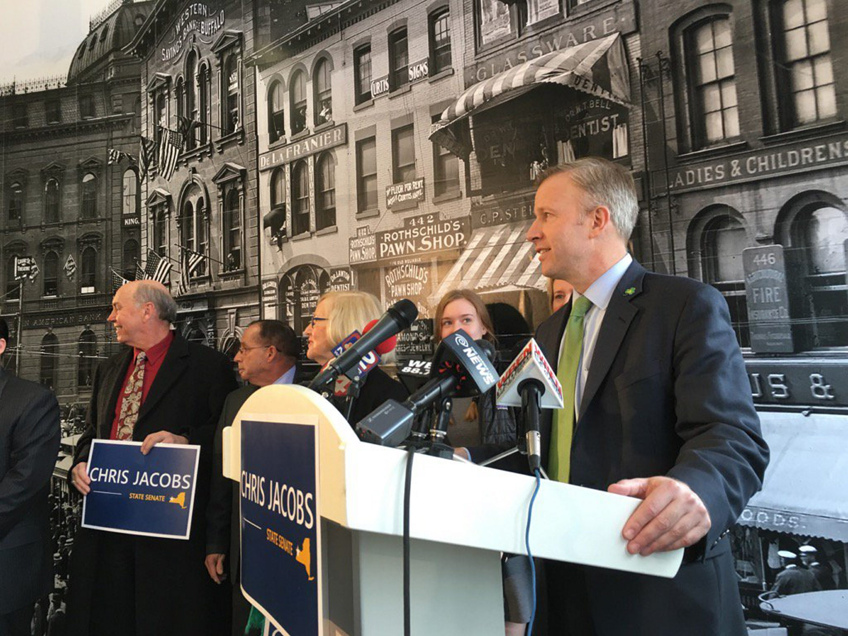 Erie County Clerk Chris Jacobs announces he will seek the Republican nomination in the 60th District State Senate race. (Derek Gee/Buffalo News)