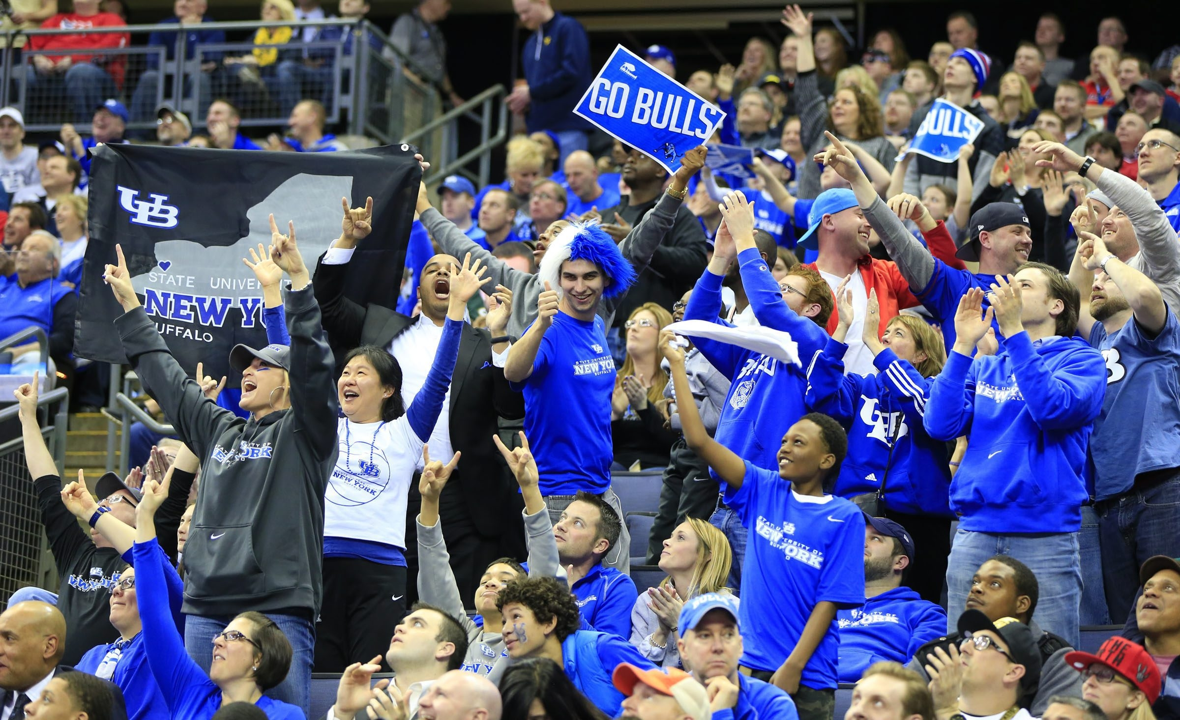 University at Buffalo fans cheer on their team against West Virginia during second half action in the NCAA Men's Basketball second round in Columbus, Ohio, last year. (Harry Scull Jr./Buffalo News)