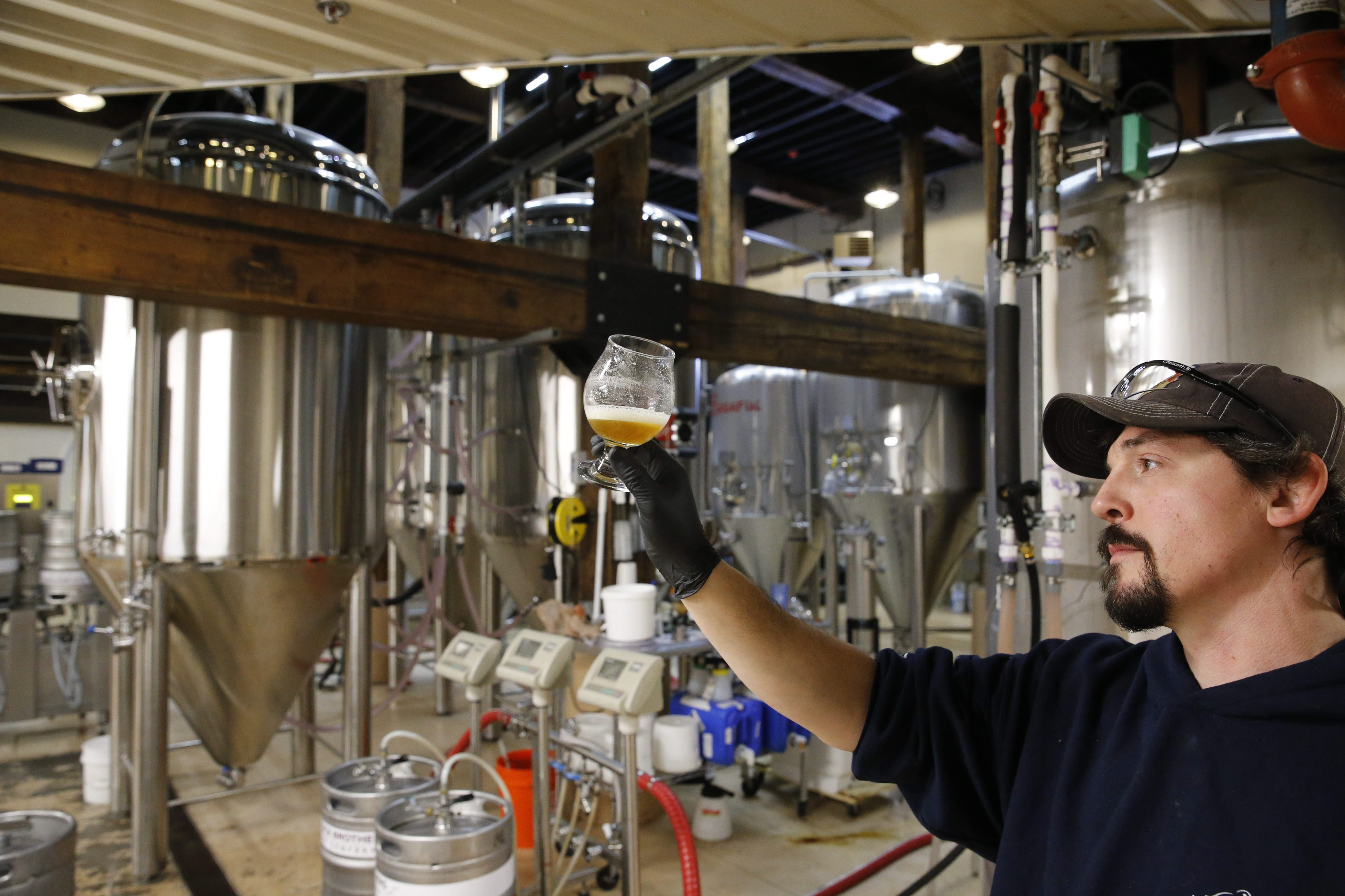 Matt Redpath, the head brewer at Woodcock Brothers Brewing Co. in Wilson, examines the first glass of a newly brewed tank of XPA. Woodcock Brothers is planning to create 4,000 cans of its popular brews for widespread distribution.