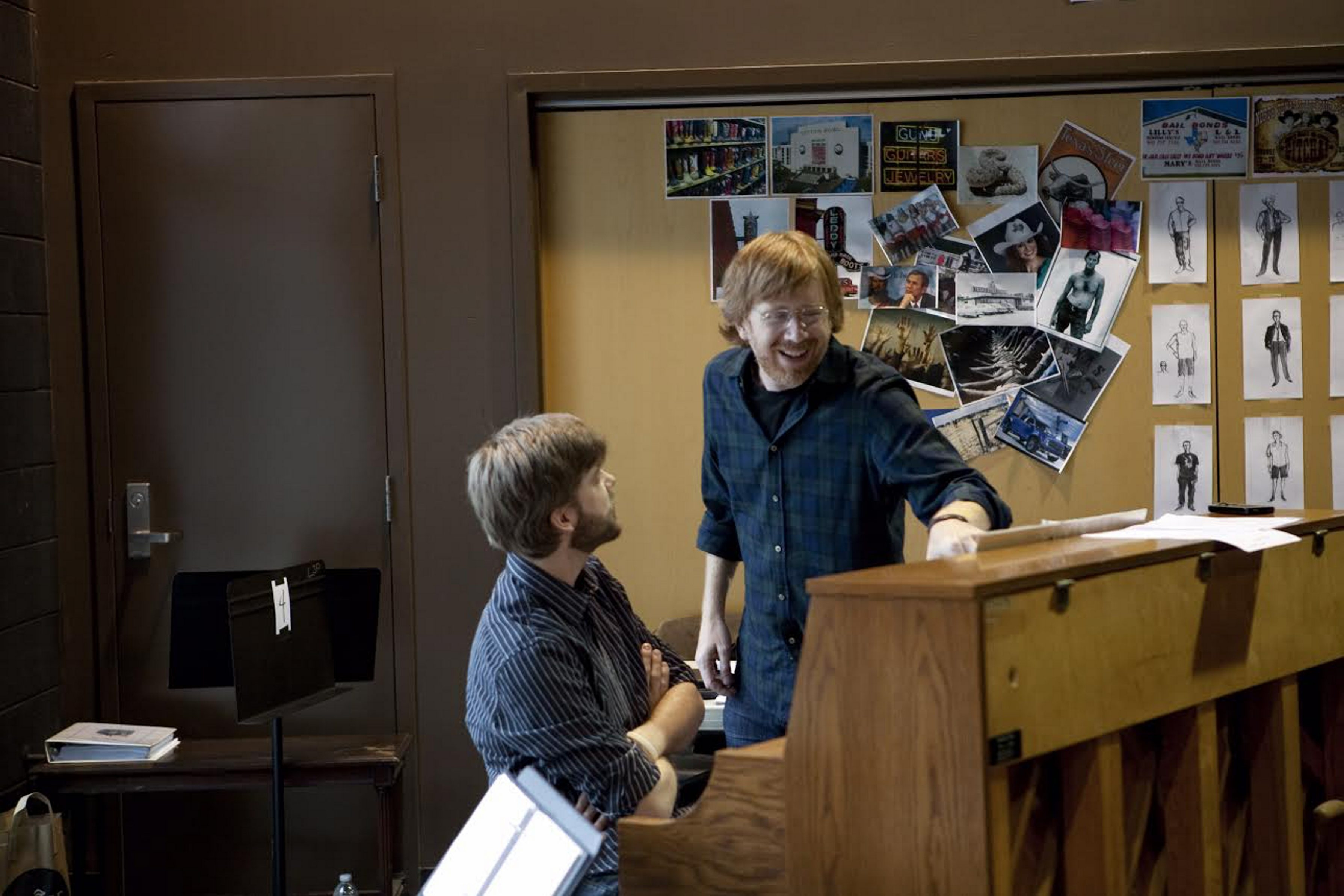Jeff Tanski (seated) and Trey Anastasio prepare for last summer's 'Grateful Dead Fare Thee Well' concerts in New York City.
