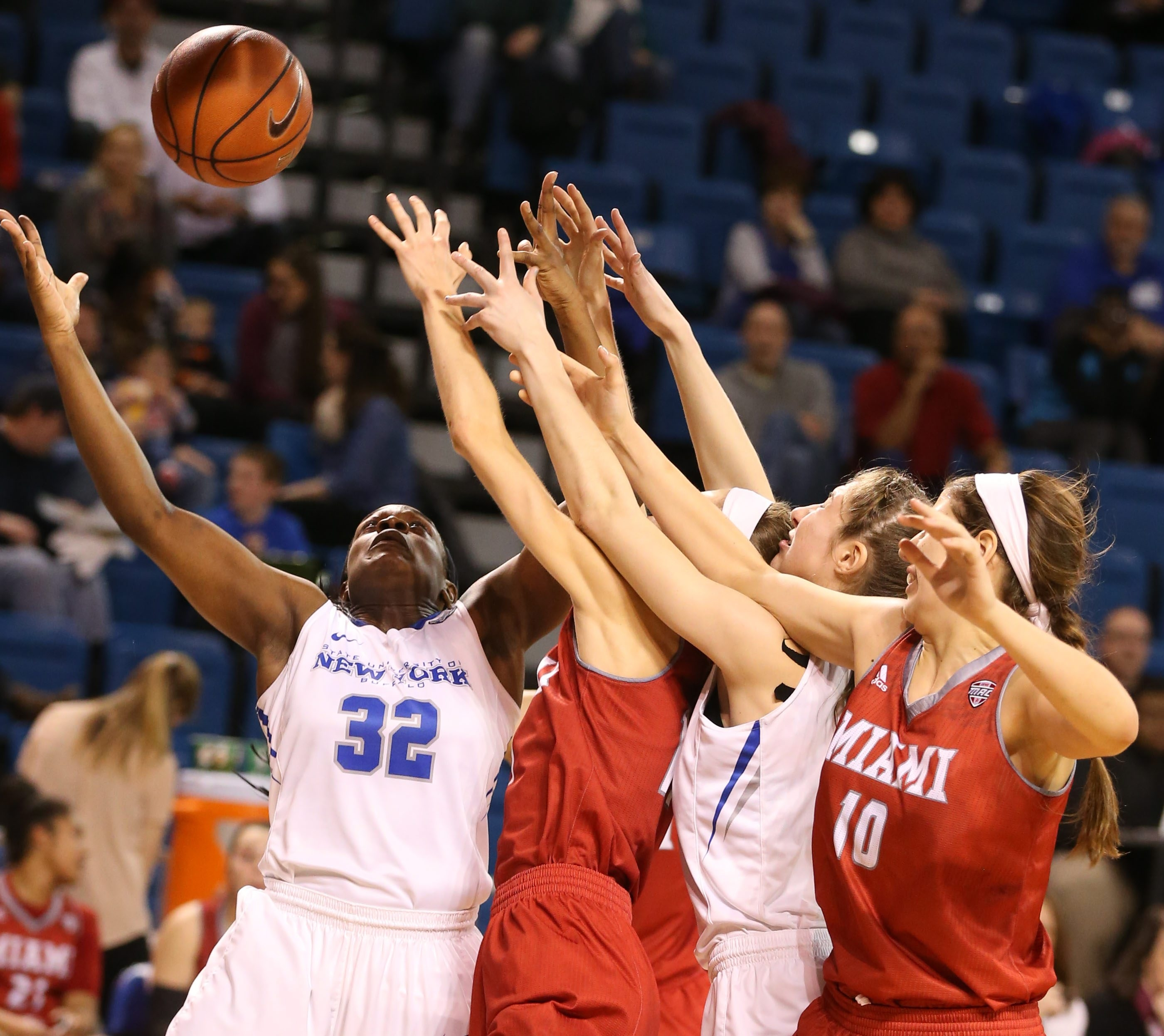 Brittany Morrison (32) emerged as an important low-post player for UB in the drive to the MAC championship.