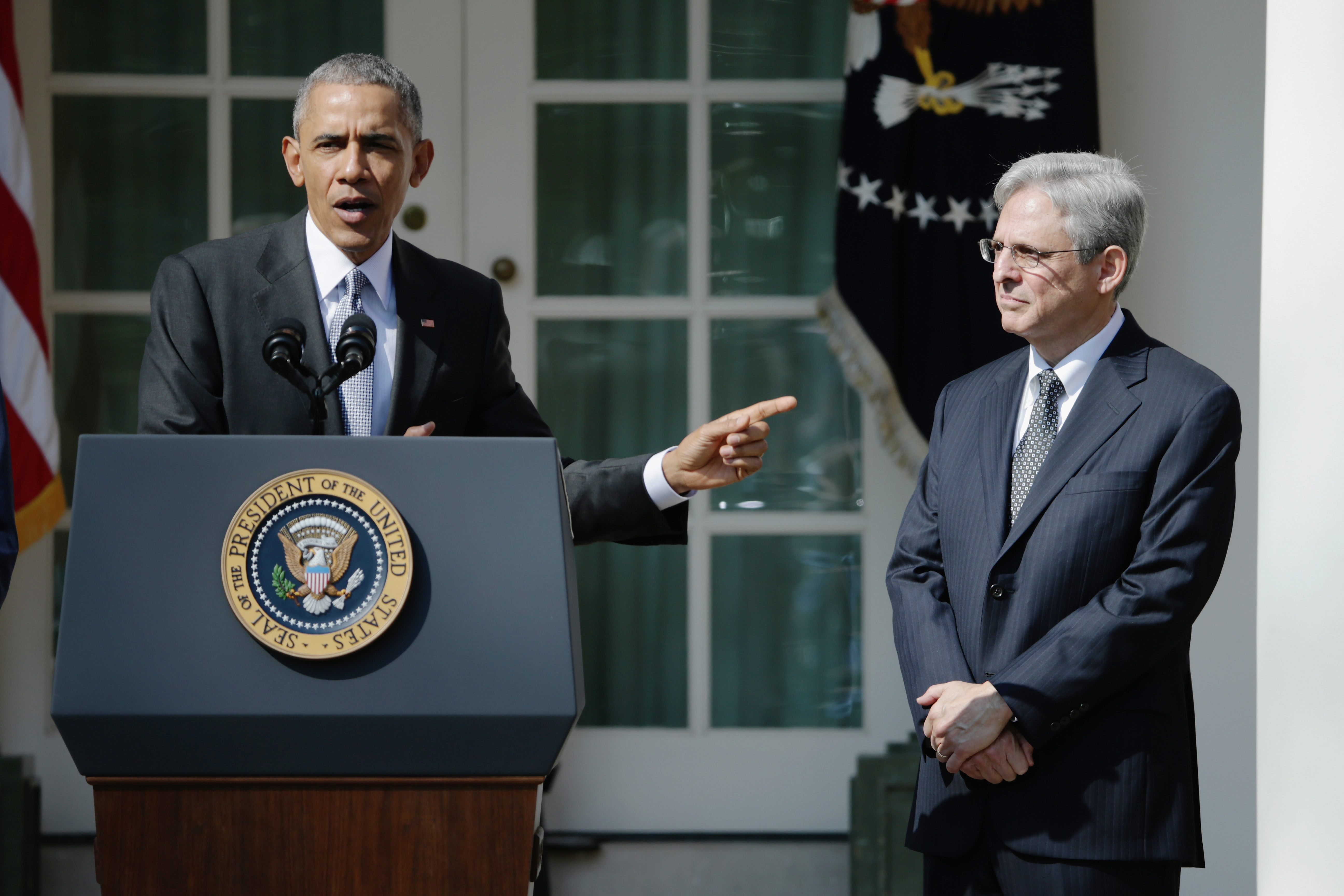 President Barack Obama stands with Judge Merrick B. Garland, while nominating him to the US Supreme Court, in the Rose Garden at the White House, March 16, 1016. (Getty Images)