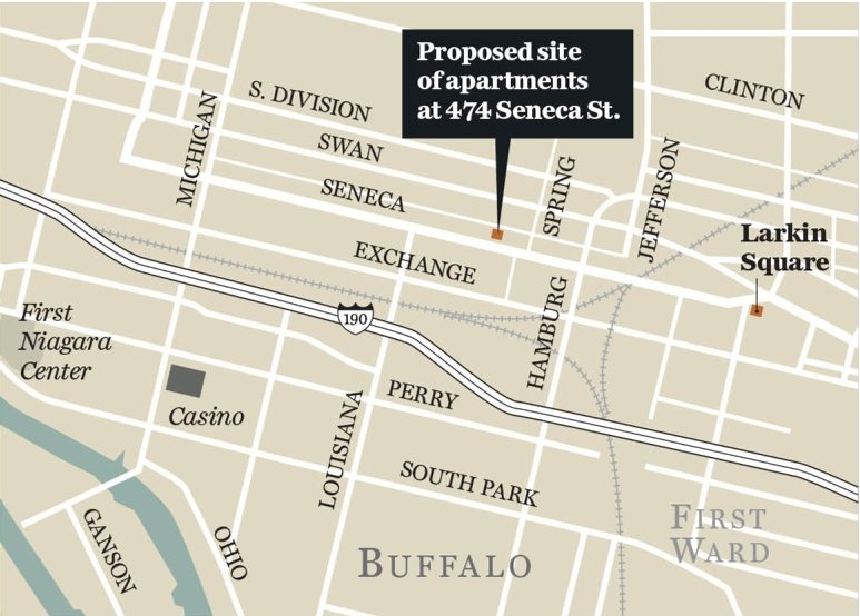 Map shows site of proposed loft-style apartments at 474 Seneca St.