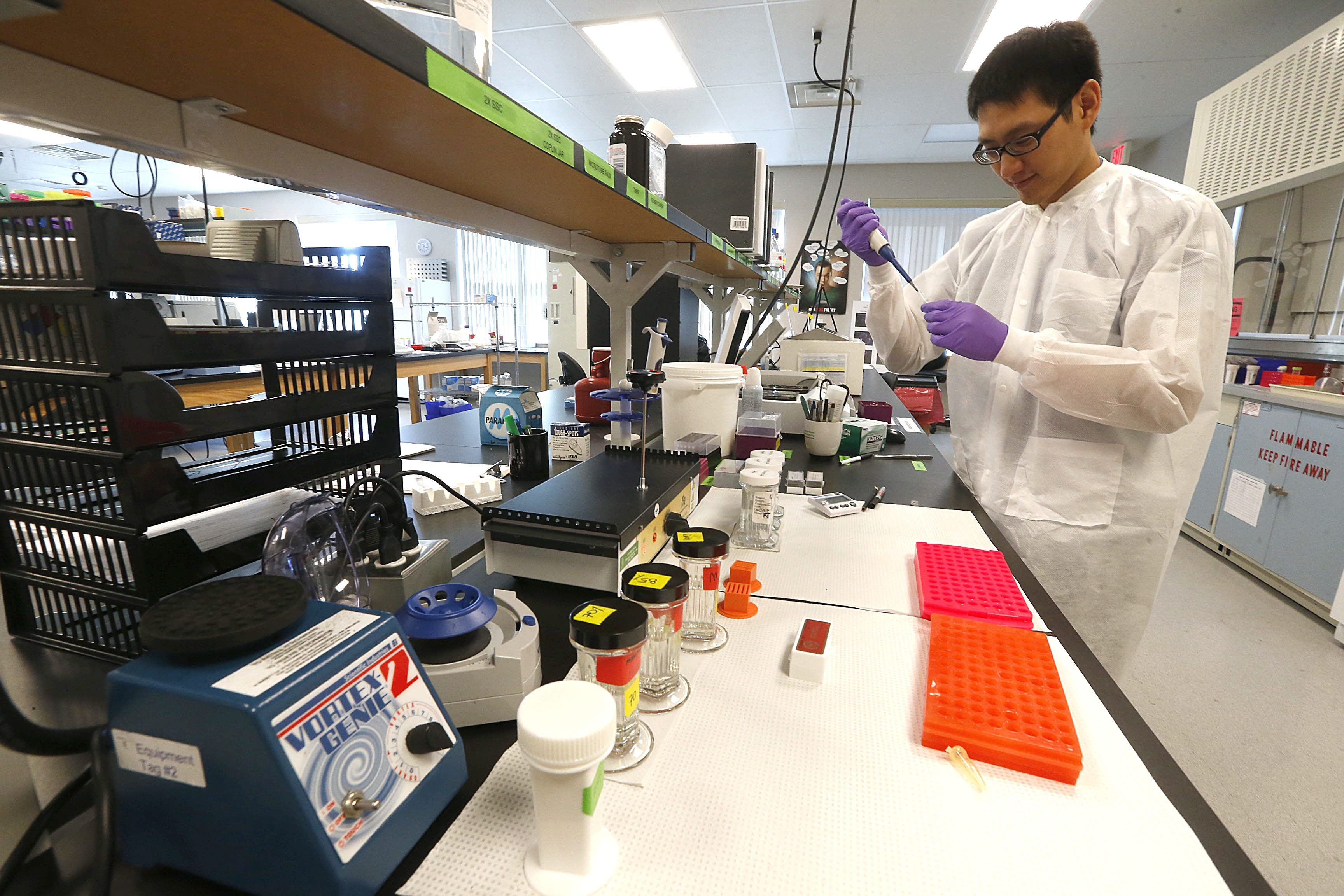 Cytogeneticist Jason Liu at work at Empire Genomics, a Buffalo firm that develops personalized medicine for cancer and other conditions.