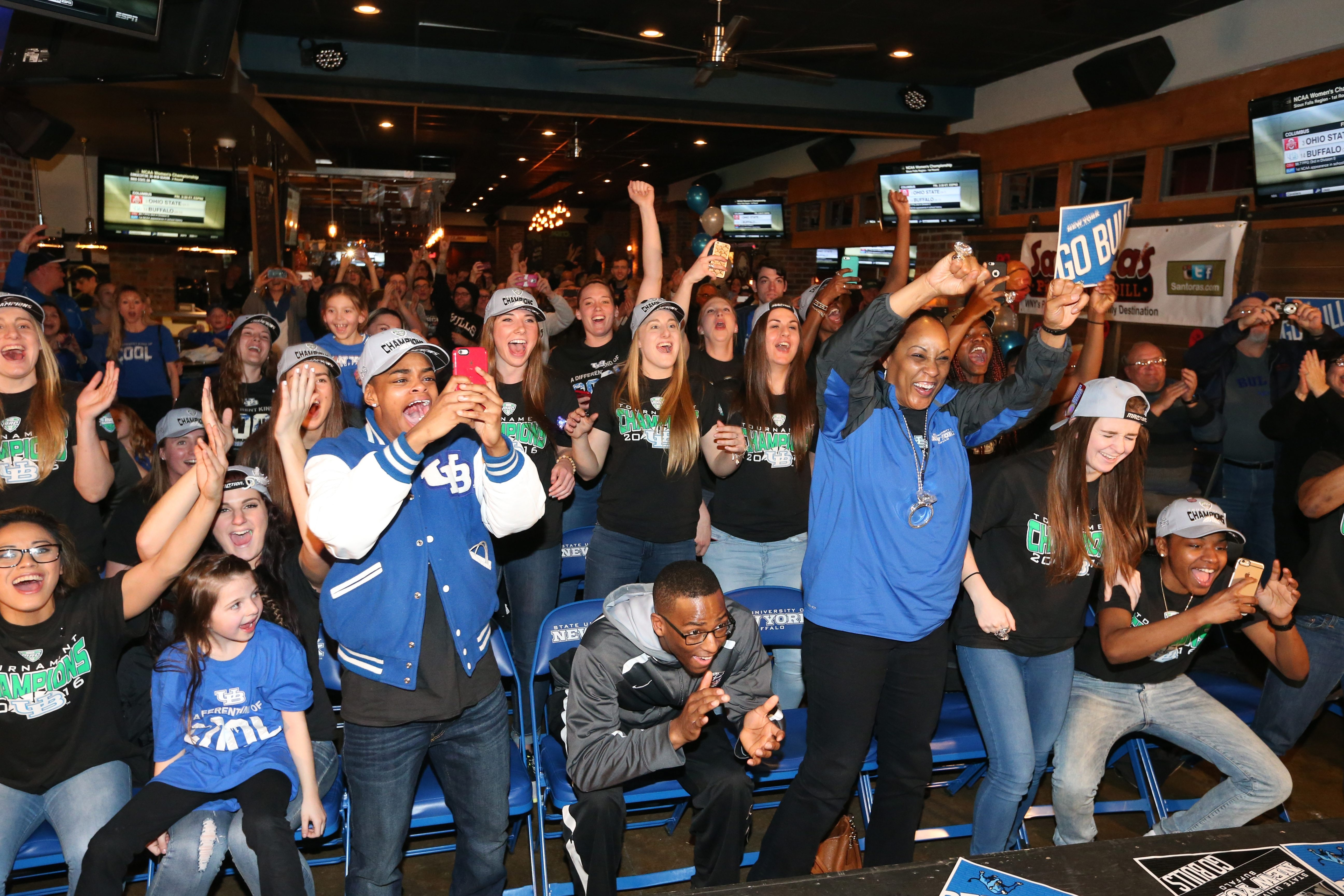 UB coach Felisha Legette-Jack and the basketball players react to the announcement that they will be playing Ohio State.