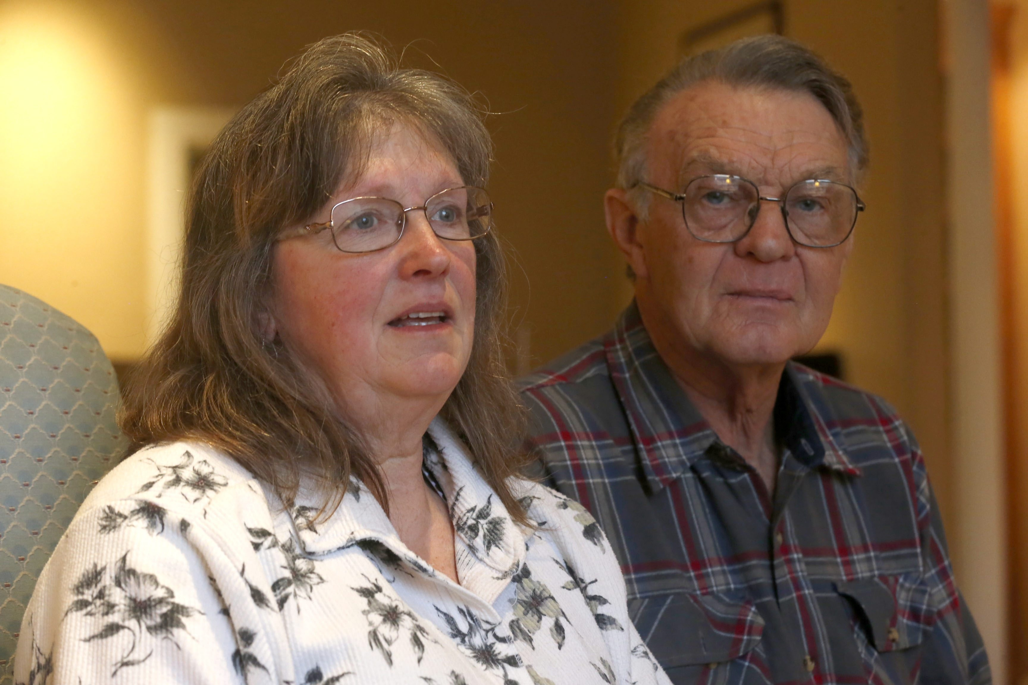 """""""We got behind in cleaning, we weren't there all the time. They all got fed and watered every day. That was a priority, whatever else was going on."""" – Don George with his wife, Bonnie, at their attorneys' office"""