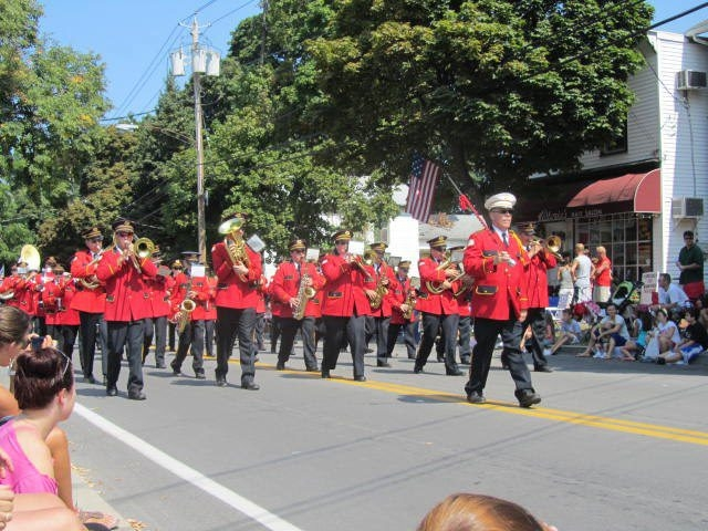 The Sanborn Fire Company Band marches in a parade.