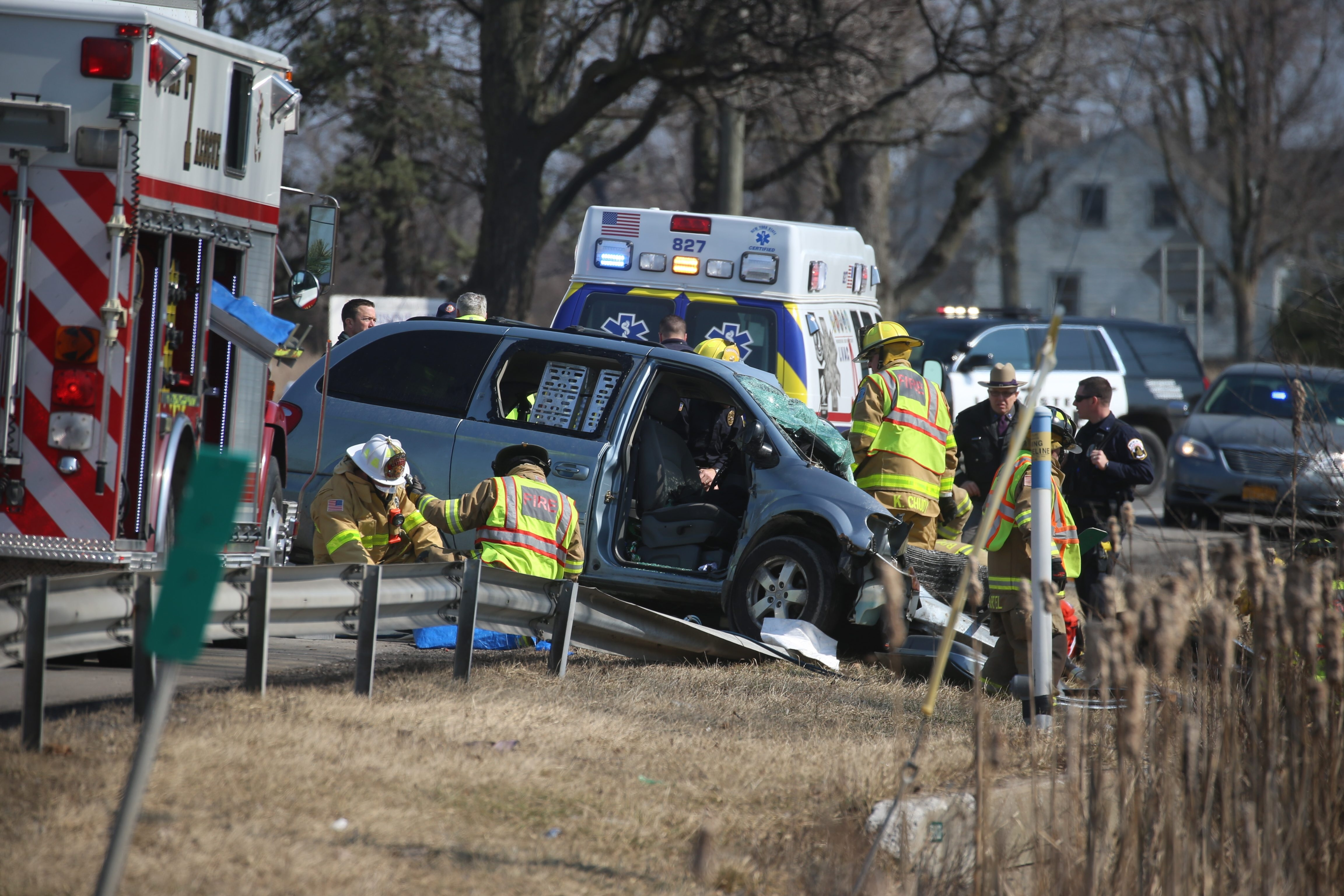 Scene of a fatal motor vehicle accident on Genesee Street where a westbound tractor-trailer and an eastbound minivan collided head on. (John Hickey/Buffalo News)