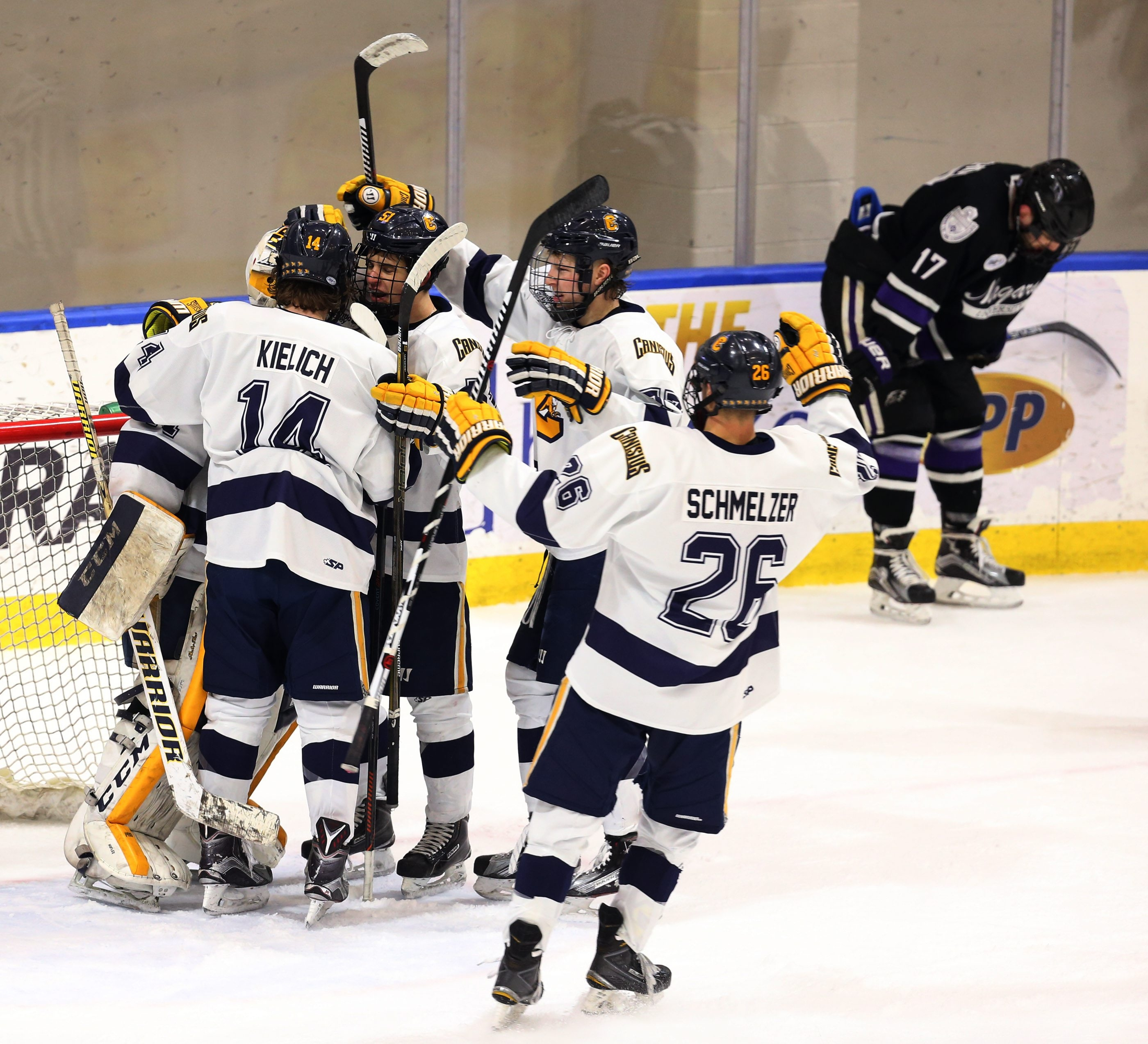 The Canisius Golden Griffins celebrate their first-round Atlantic Hockey series victory over Niagara on Sunday at HarborCenter.