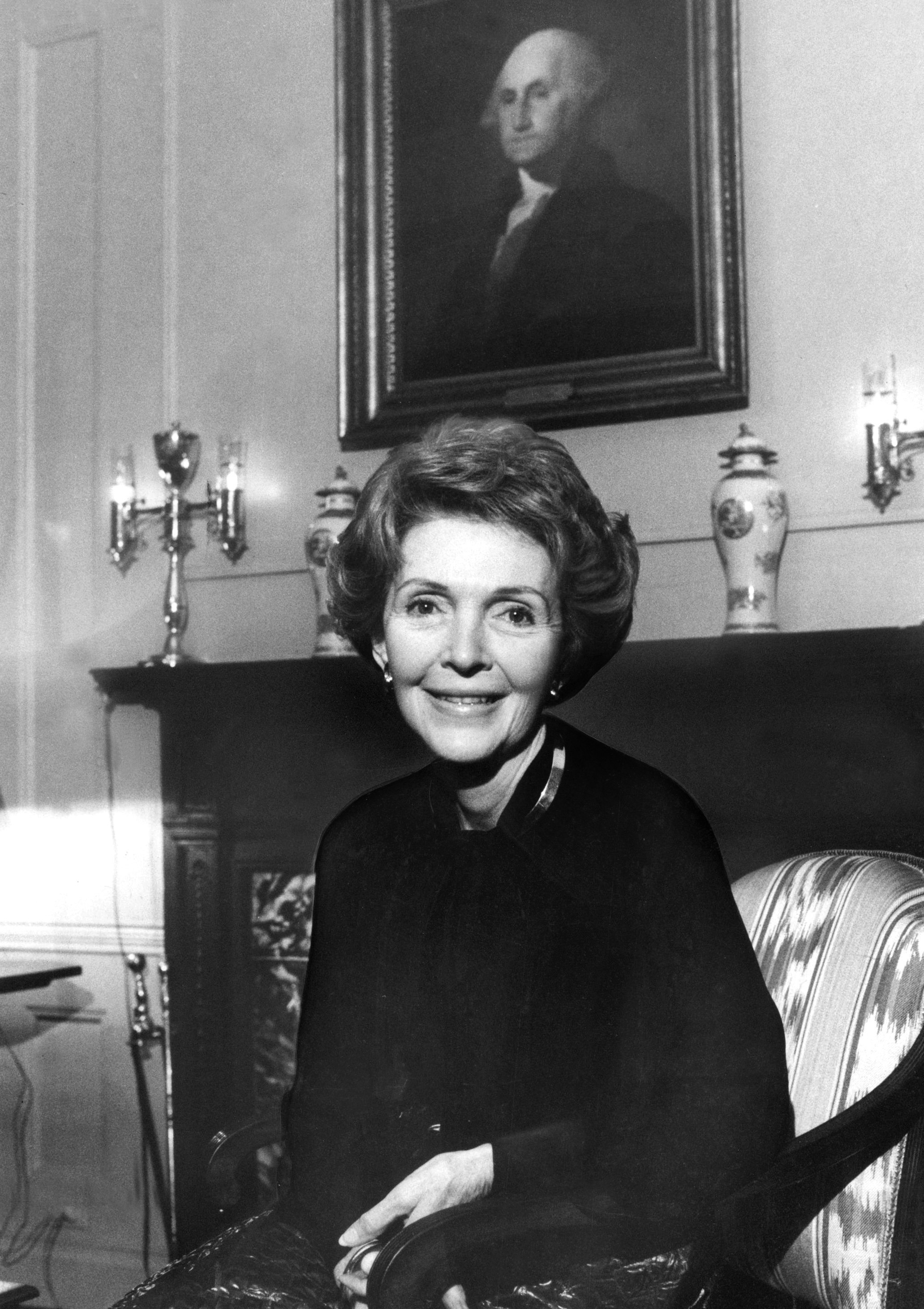 Nancy Reagan during an interview at the White House on Feb. 17, 1982. Reagan, the stylish and influential wife of the 40th president who unabashedly put Ronald Reagan at the center of her life but who became a political figure in her own right, died March 6 at her home in Los Angeles. (New York Times)