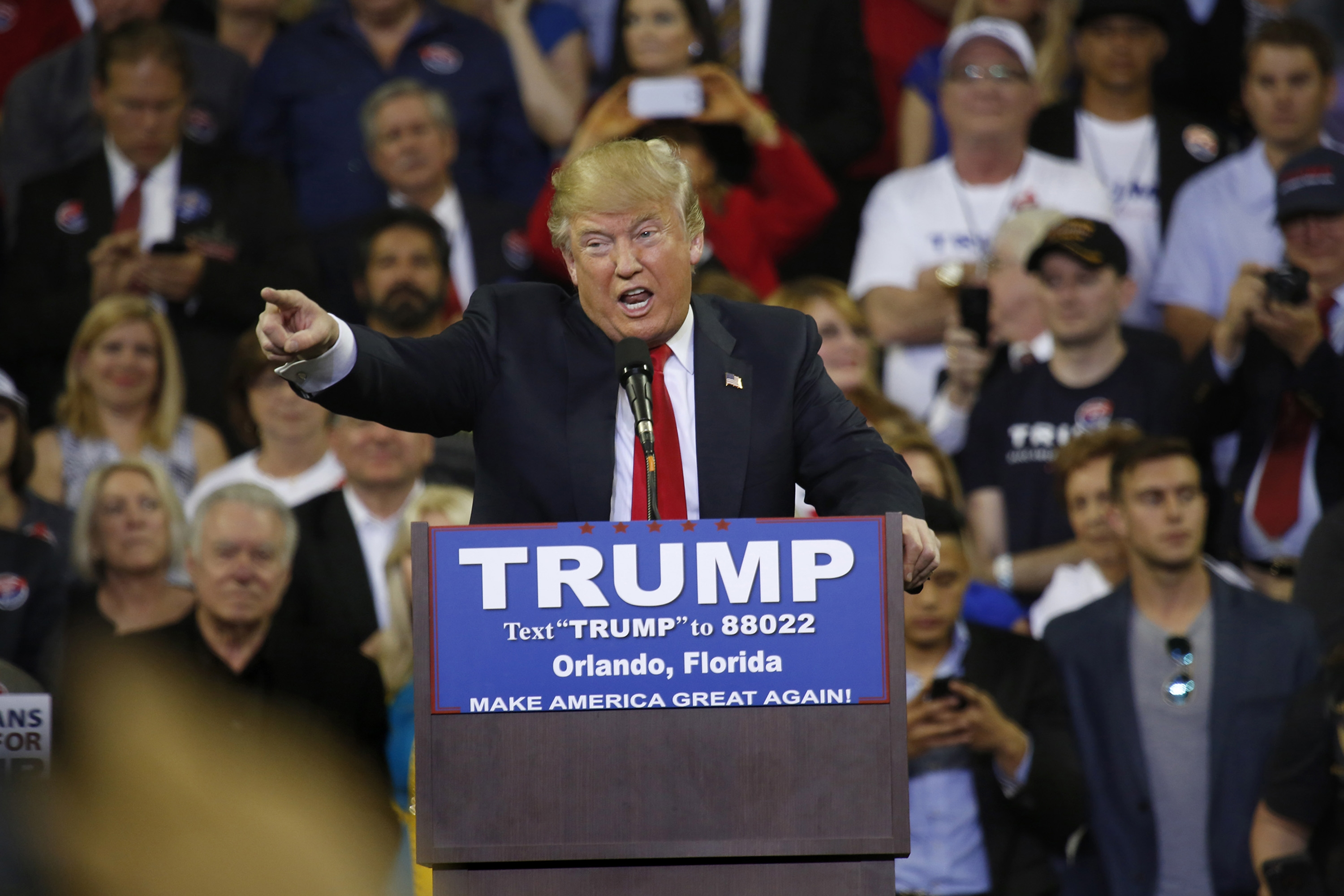 Presidential candidate Donald Trump fires up the crowd at his rally at the University of Central Florida on Saturday.