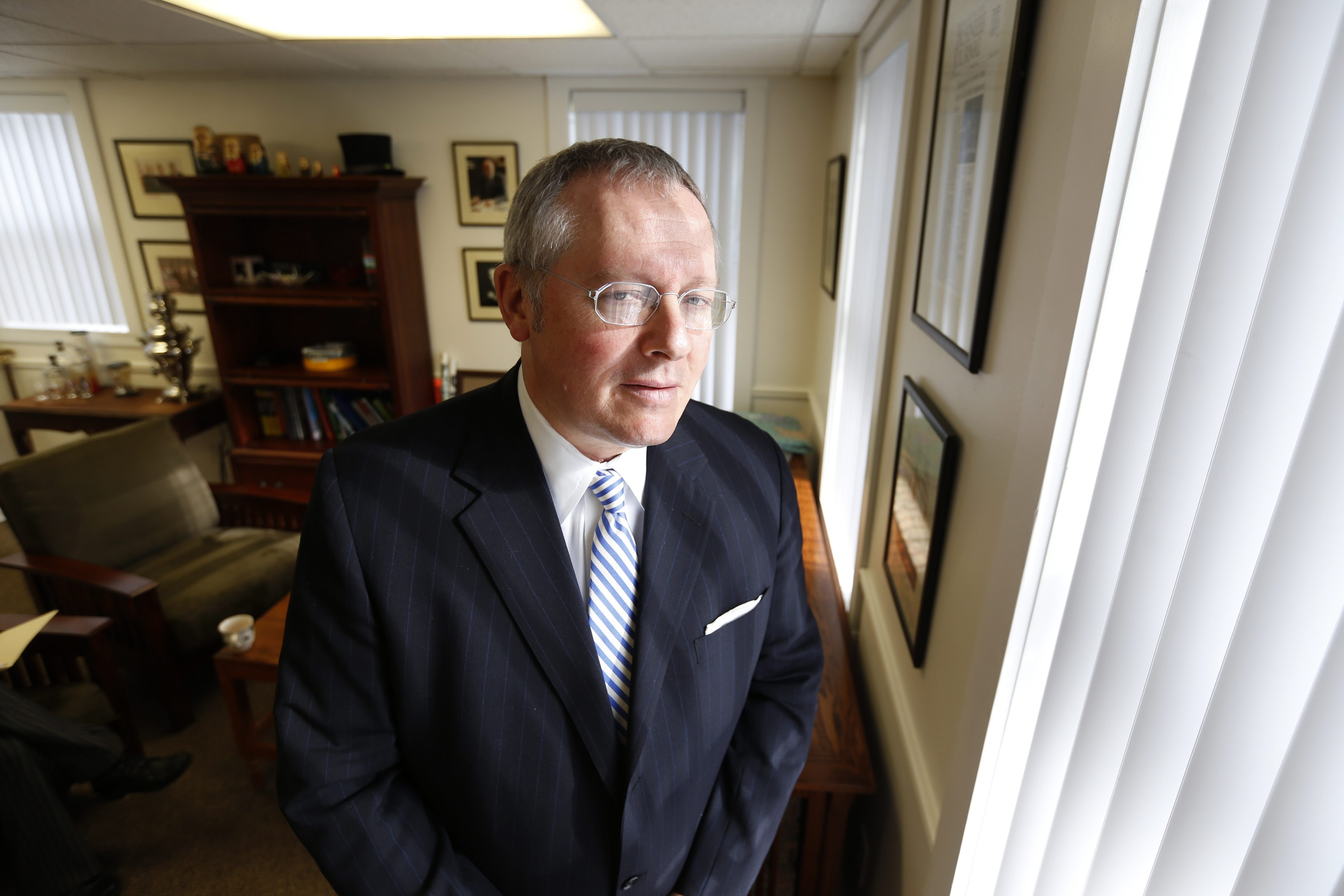Michael Caputo, enigmatic Republican political consultant and international PR man who served as campaign manager for Carl Paladino and fills in as radio talk show host on WBEN.  This was in his East Aurora office on Tuesday, Jan. 19, 2016.  (Robert Kirkham/Buffalo News)