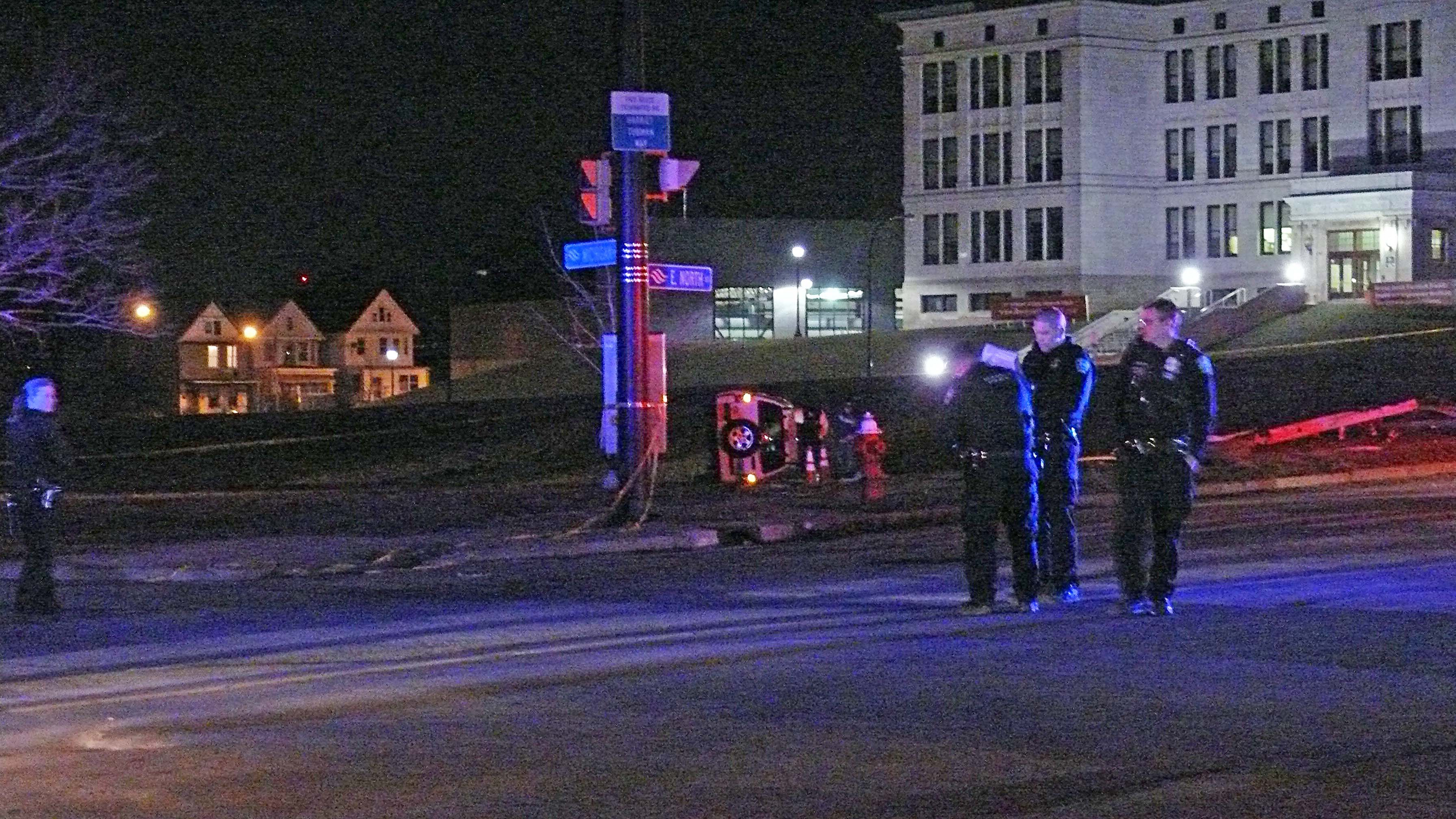 Scene of a fatal accident at Michigan Avenue and East North Street early Saturday. (JoAnne McNamara/Special to The News)
