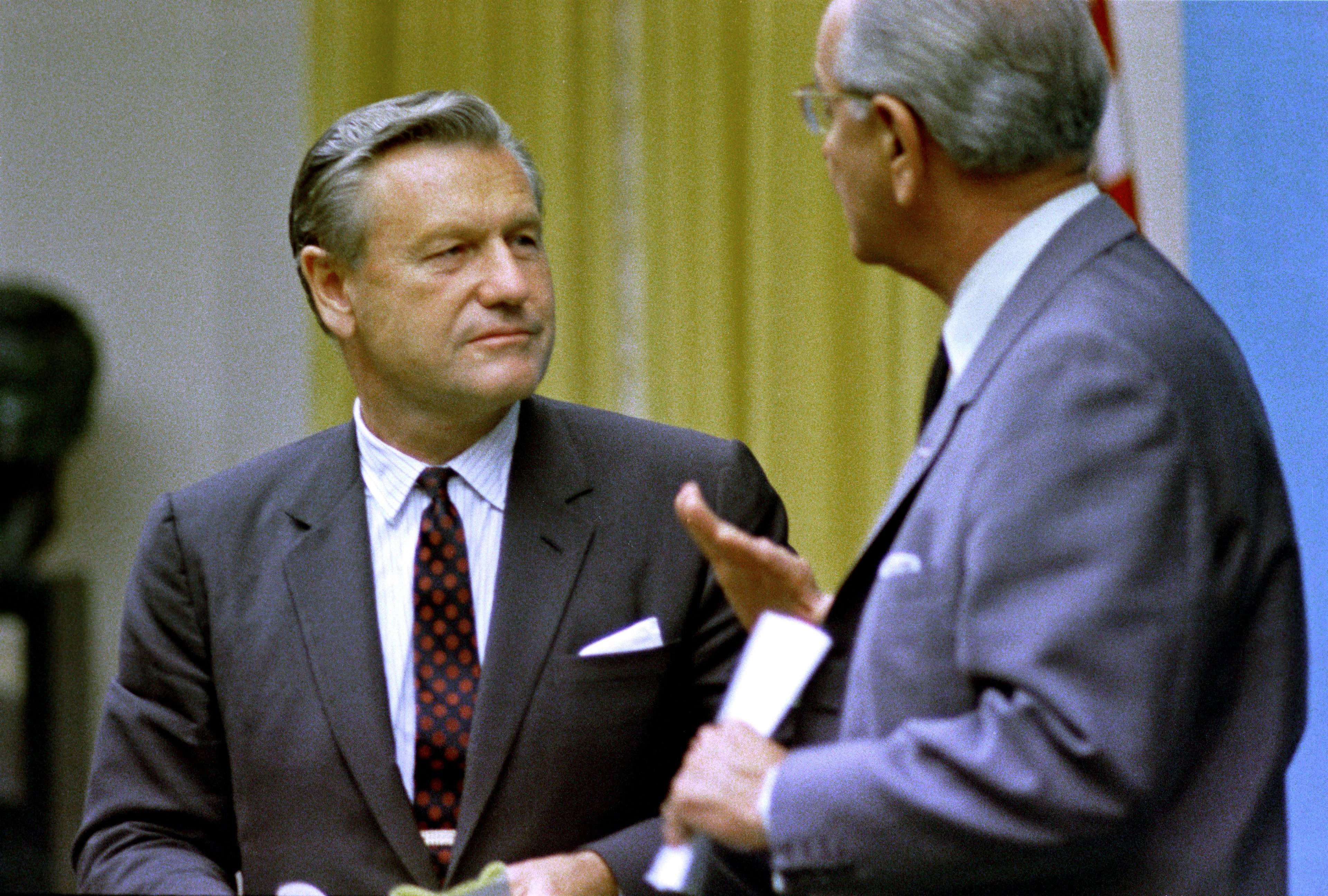 'Rockefeller Republicans,' sharing the more moderate views of Gov. Nelson A. Rockefeller, pictured in a 1968 photo with then-President Lyndon B. Johnson, are scarce these days.