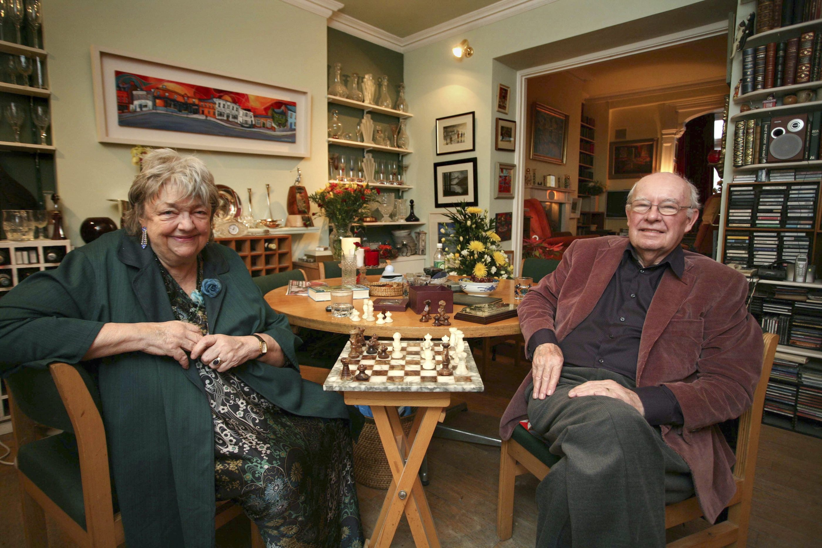 Maeve Binchy, left, is pictured with Gordon Snell at their home in Dalkey, Ireland, on Jan. 31, 2009. Binchy, a newspaperwoman turned best-selling author whose sprawling novels of Ireland portrayed women confronting all manner of adversity, died July 30, 2012, in Dublin at age 72.