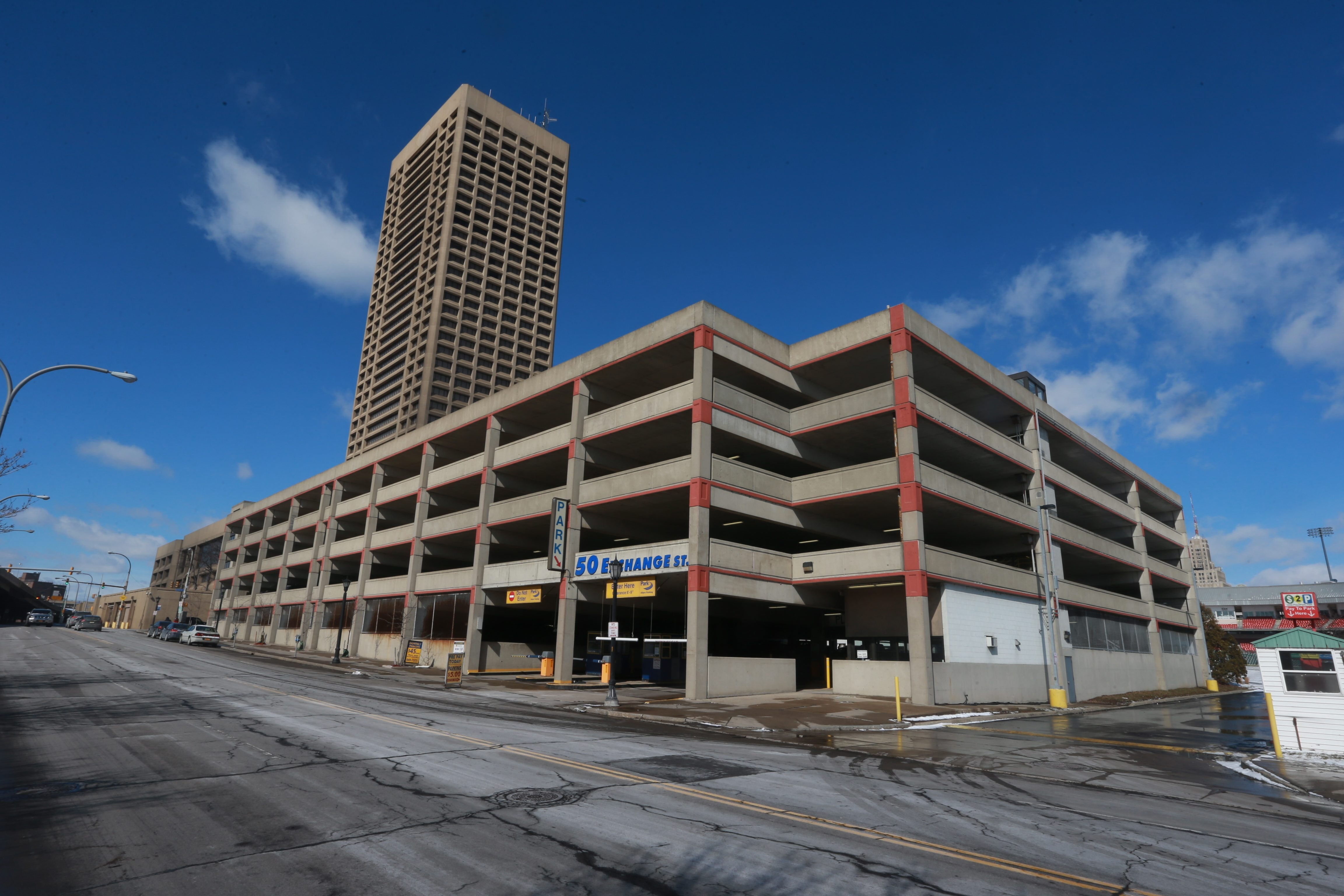 The One Seneca Tower parking garage was purchased at auction Friday for $7.7 million by LNR Partners after a bidding war that included local developer Mark Croce and New York businessman Harvey Kaylie.