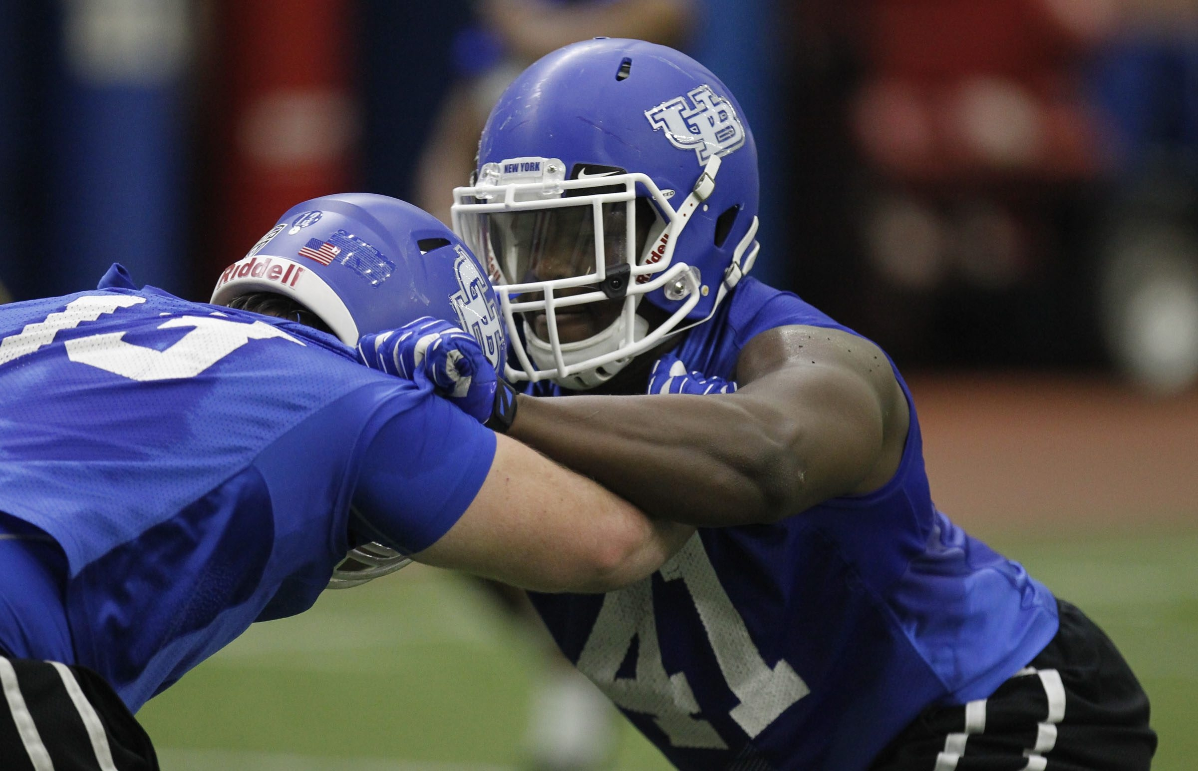 News file photo from March 2015 shows UB football player Solomon Jackson, at right, during practice.