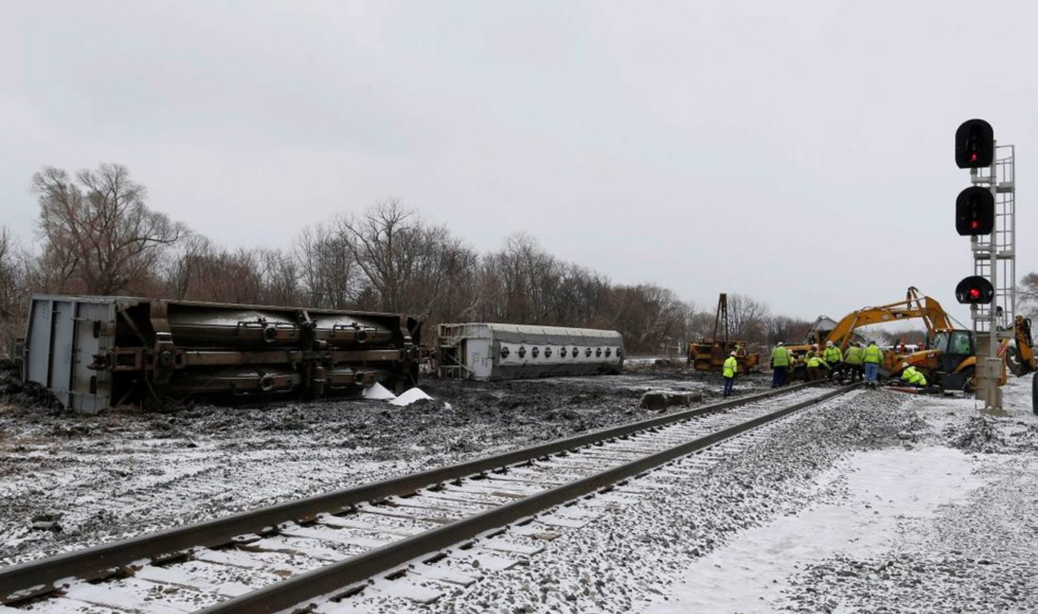 Crews work on the train derailment in Ripley Wednesday, March 2, 2016. (Mark Mulville/Buffalo News)