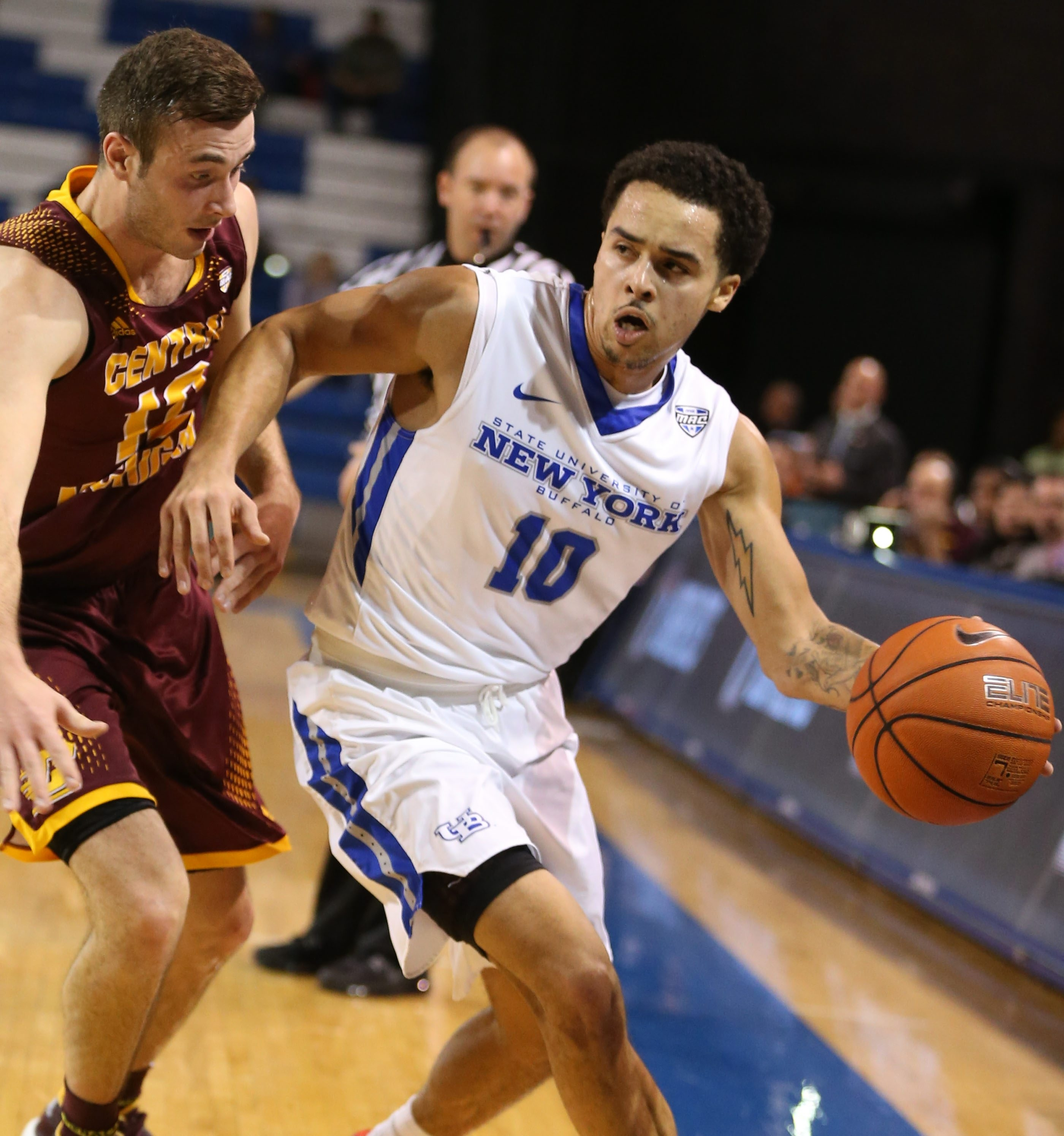 Jarryn Skeete, playing against Central Michigan, is the only current Bull to have played for coaches Reggie Witherspoon, Bobby Hurley and Nate Oats. (James P. McCoy/Buffalo News file photo)