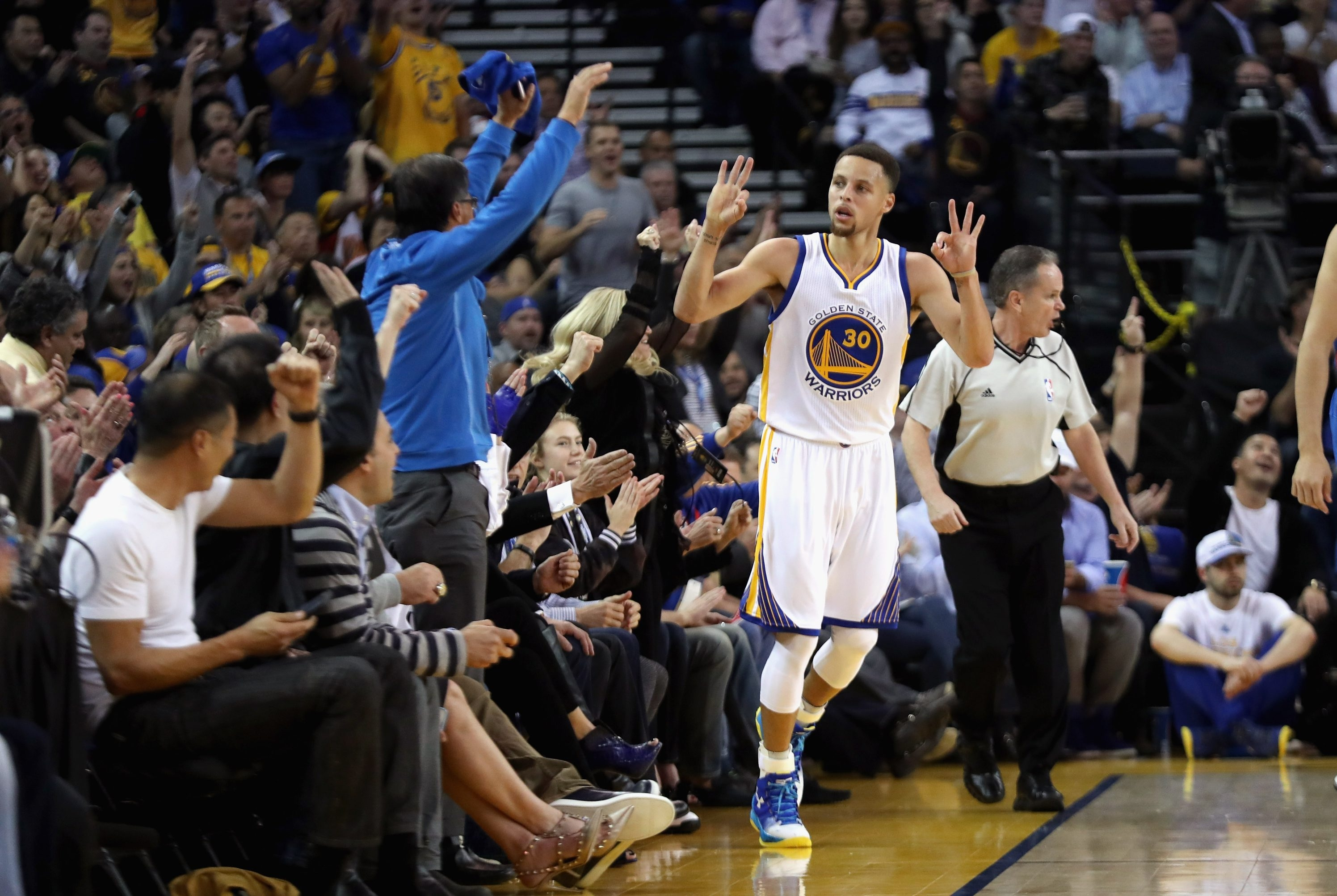 Golden State's Stephen Curry has more three-pointers this season than anyone in NBA history.