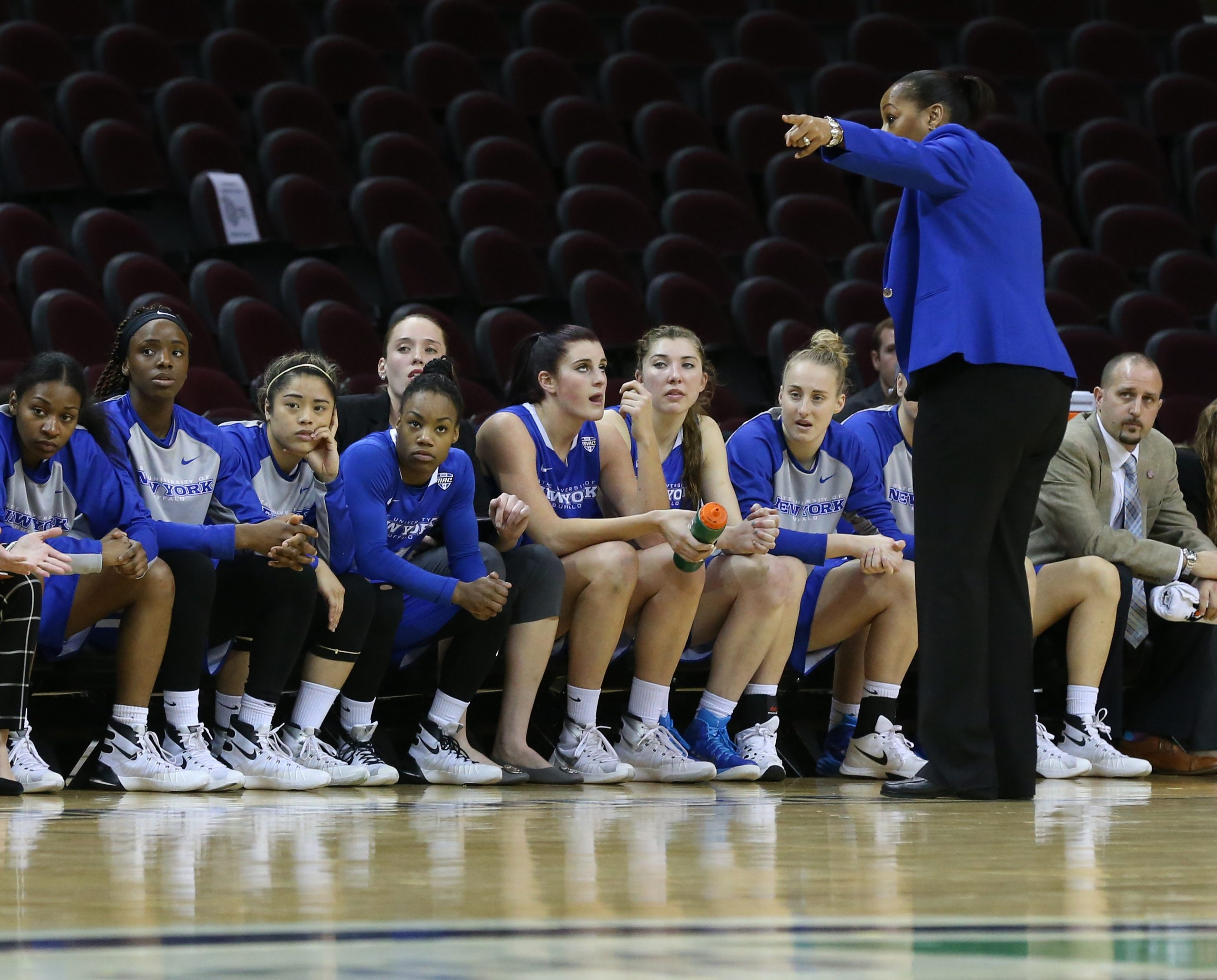 Buffalo Bulls head coach Felisha Legette-Jack  talks to her team in the first half of the semi final game of the MAC Championship at Quicken Loans Arena in Cleveland,NY on Friday, March 11, 2016.  (James P. McCoy/ Buffalo News)