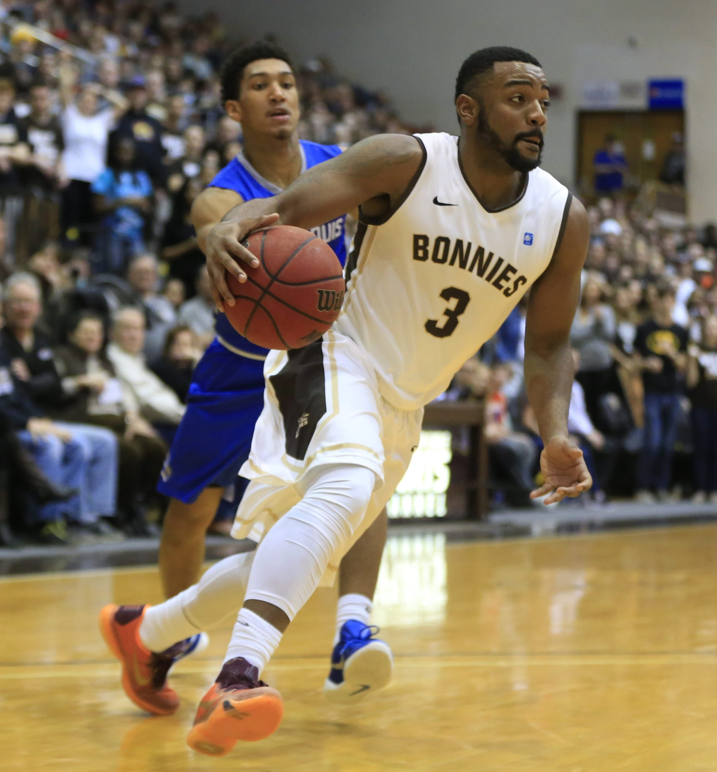 """St. Bonaventure guard Marcus Posley said, """"To be a part of history and what we accomplished this year is really cool but, yeah, it's disappointing"""" to get left out of the NCAA Tournament. (Harry Scull Jr./Buffalo News files photo)"""