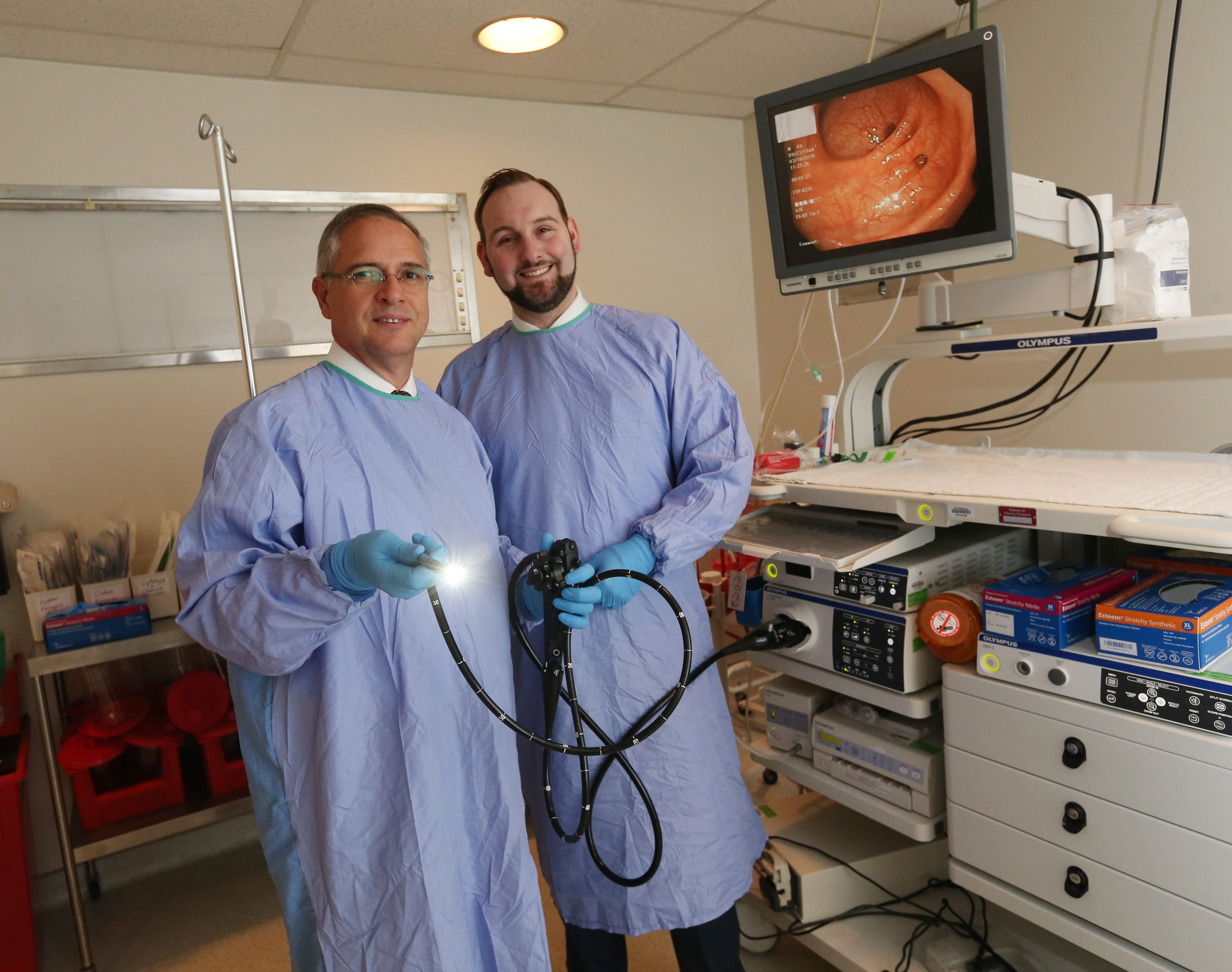 """... Our prep is much easier. We also use sedation, so everyone is very comfortable and most people don't even remember the procedure afterward.""  – Dr. Brian Matier, right, talking about colonoscopies. He is pictured with his colleague Dr. Bryan Butler at Sisters Hospital. Butler is holding a scope with a high-definition camera that is used during the procedure."