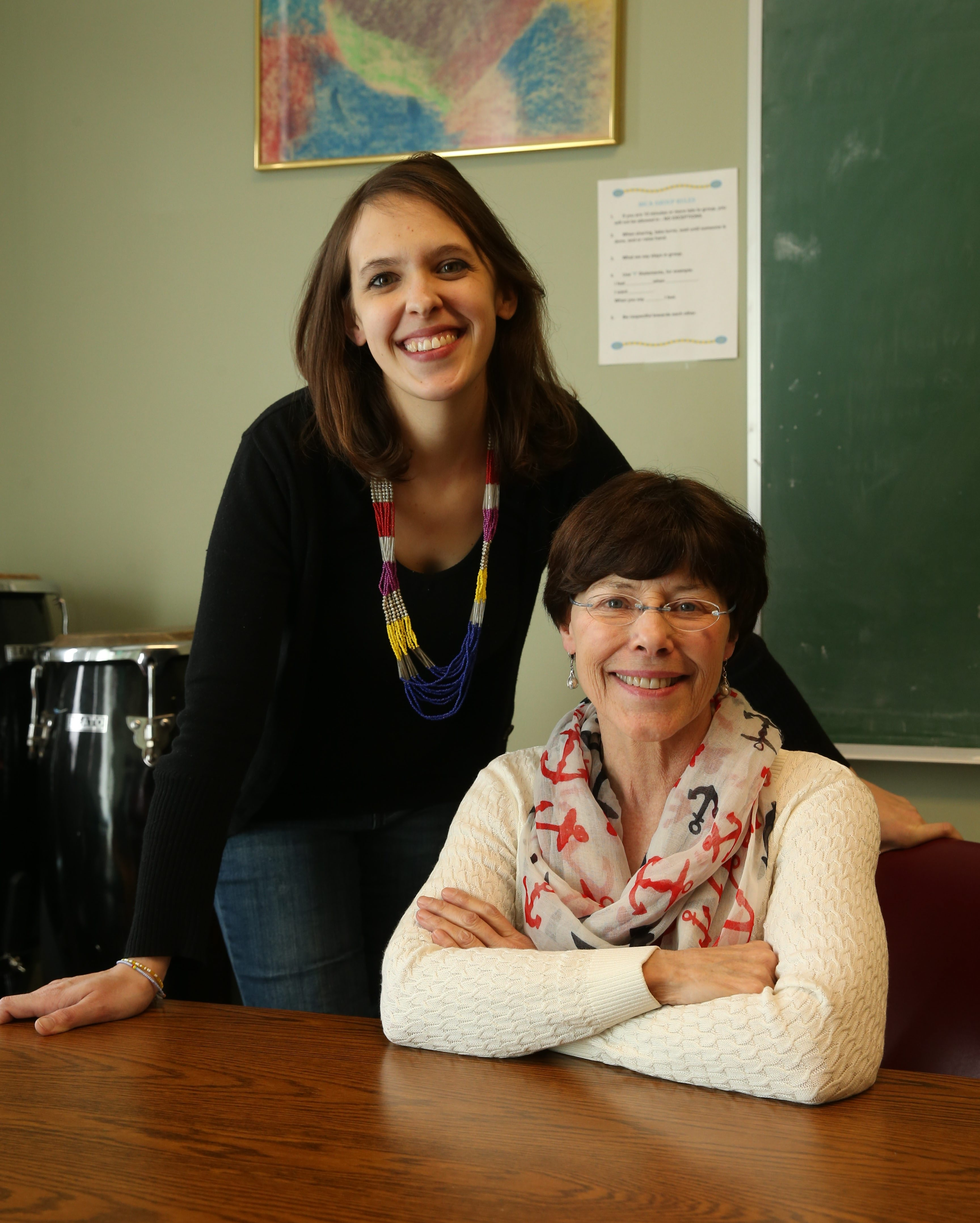 """""""As a peer, if you were to be in a war-torn situation and had to go to another country you'd want to be treated with respect, as an equal. """" – Jessica Scates, left, with Dr. Kim Griswold, on what she wishes Western New Yorkers understood about the refugee population."""