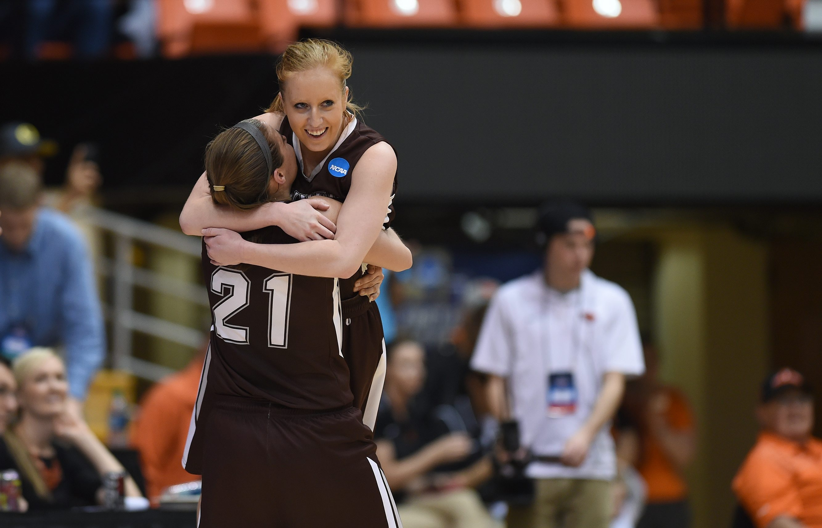 St. Bonaventure's Emily Michael, top, celebrates Friday's NCAA Tournament victory with teammate Nyla Rueter.