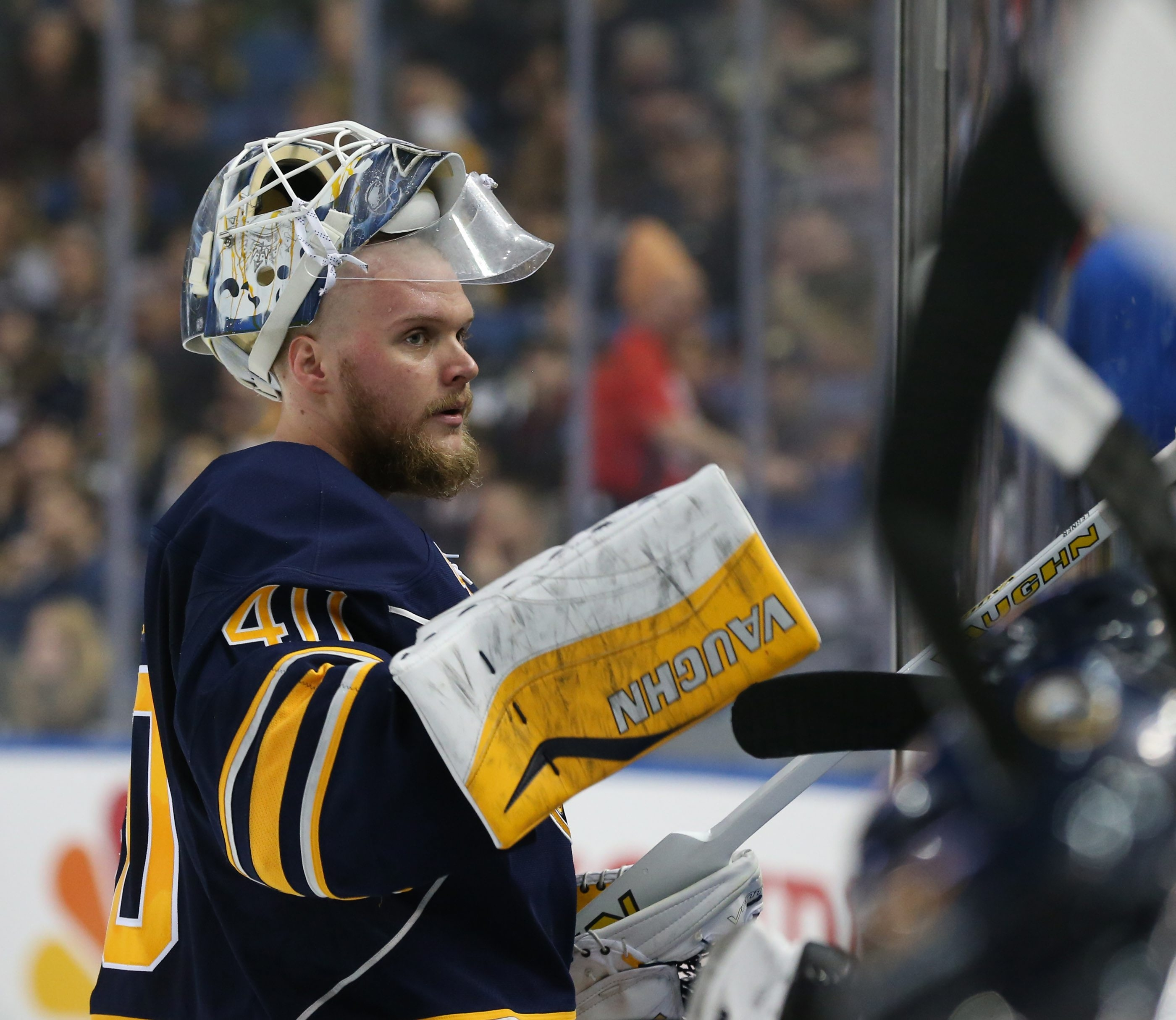 Buffalo Sabres goalie Robin Lehner (40) goes to the bench during a time-out in the first period at First Niagara Center in Buffalo on Feb. 21, 2016.