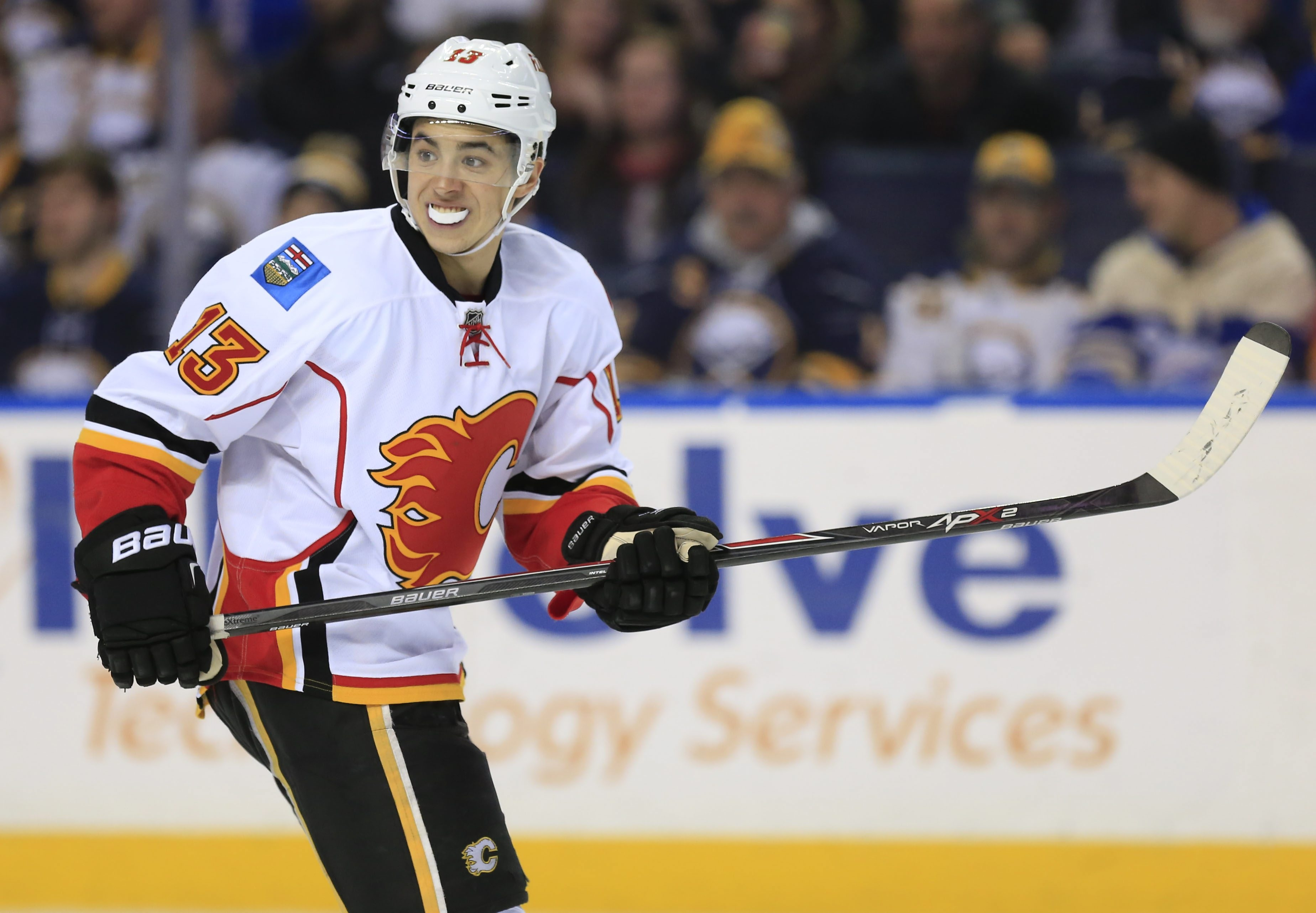 Calgary Flames left winger Johnny Gaudreau skates against the Buffalo Sabres during third-period action at First Niagara Center on Thursday.